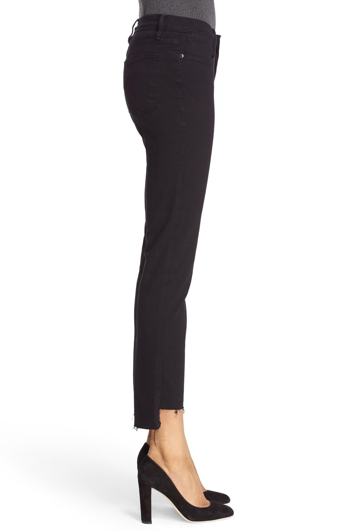 FRAME, Le High Straight High Waist Staggered Hem Jeans, Alternate thumbnail 5, color, FILM NOIR
