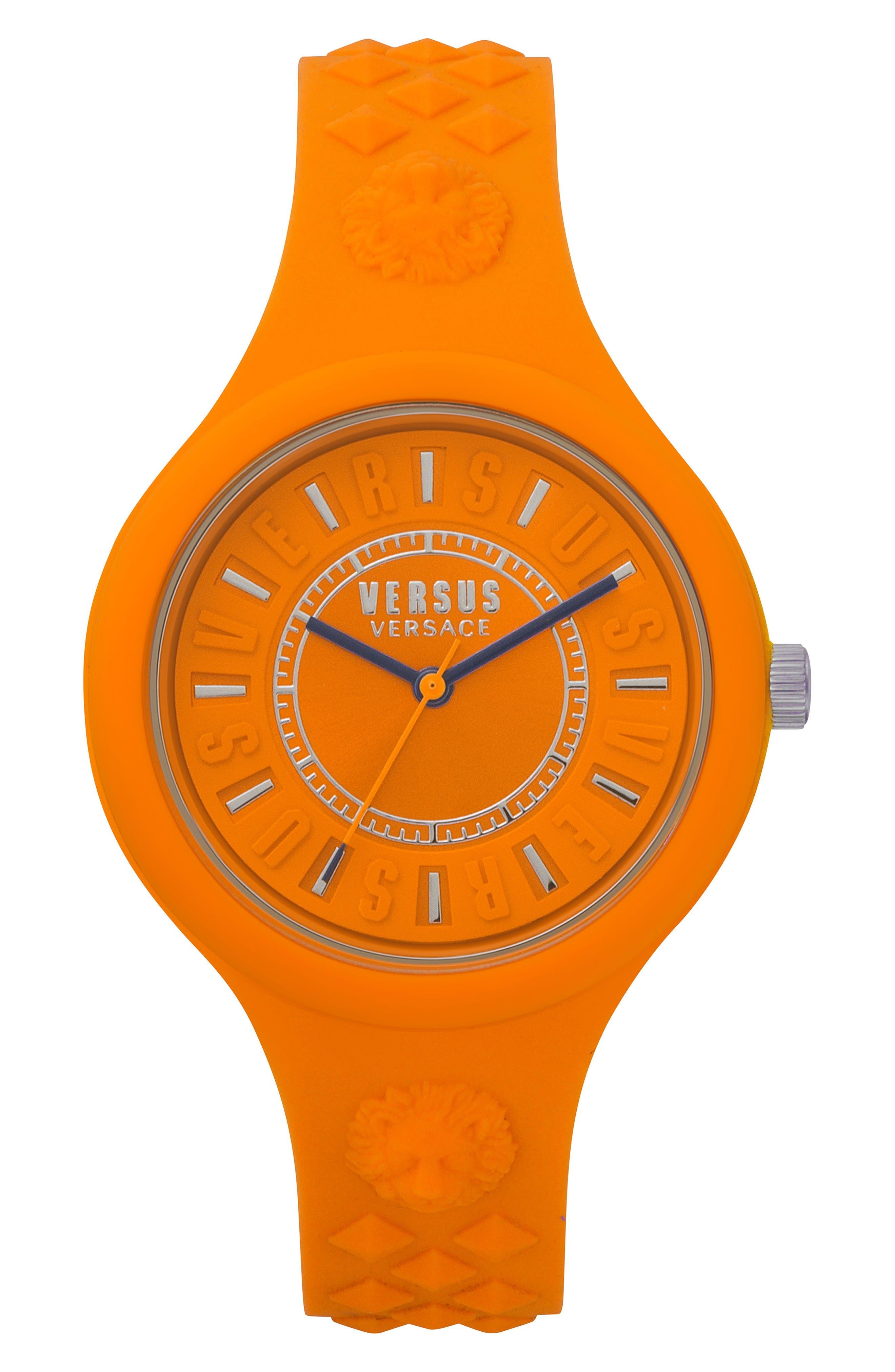 VERSUS VERSACE Fire Island Silicone Strap Watch, 39mm, Main, color, ORANGE/ GREY