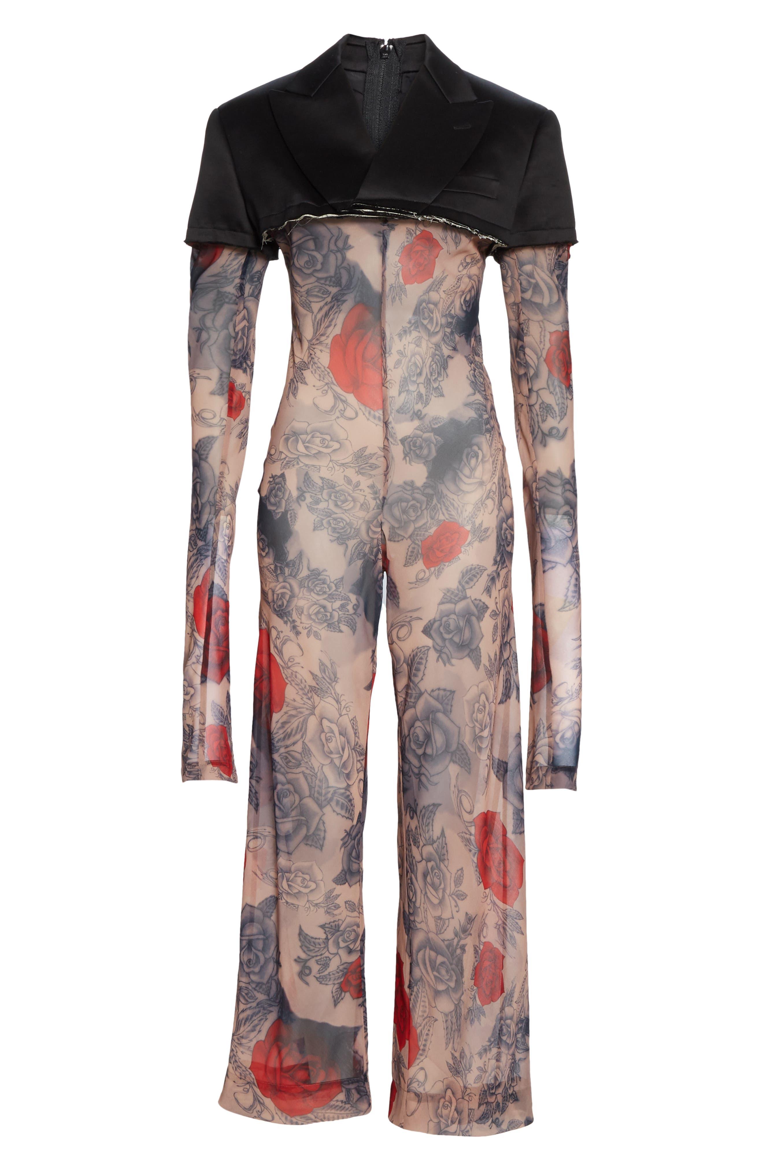 COMME DES GARÇONS, Cotton Blazer & Rose Tattoo Mesh Jumpsuit, Alternate thumbnail 7, color, BLACK X F PATTERN