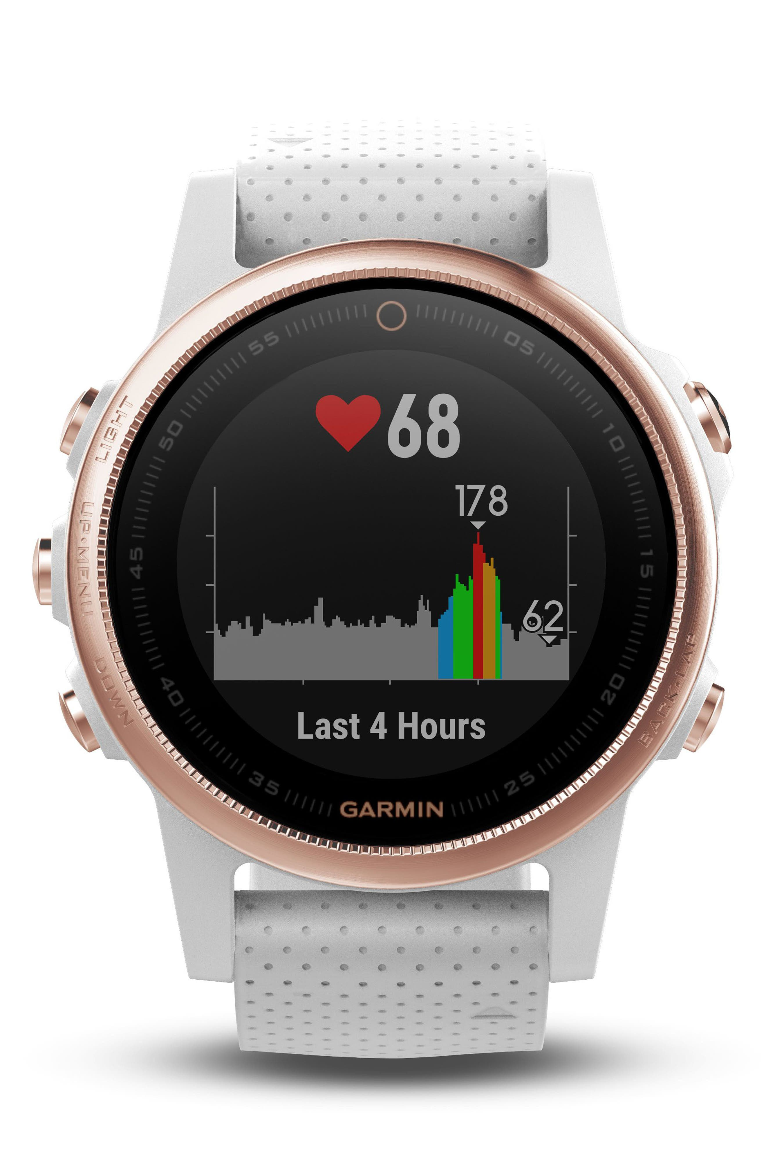 GARMIN, fenix<sup>®</sup> 5S Sapphire Premium Multisport GPS Watch, 42mm, Alternate thumbnail 3, color, WHITE/ ROSE GOLD SAPPHIRE