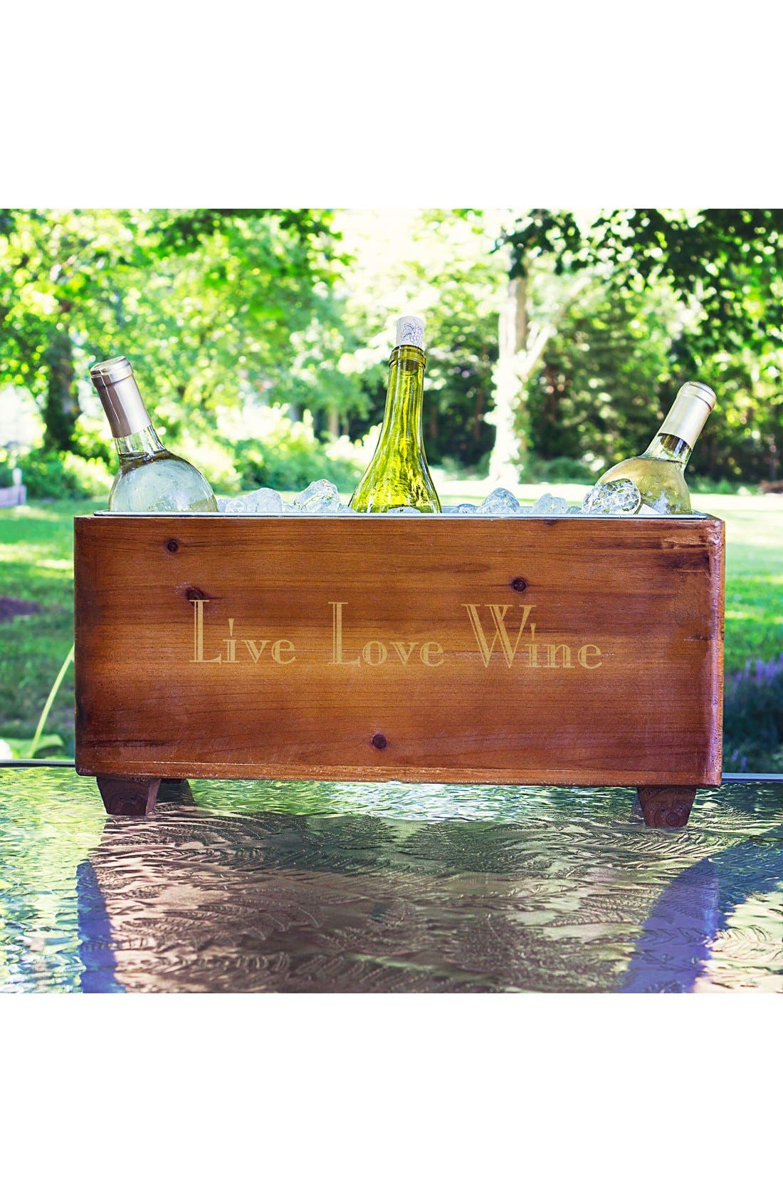 CATHY'S CONCEPTS, Live Love Wine Wooden Wine Trough, Alternate thumbnail 3, color, BROWN