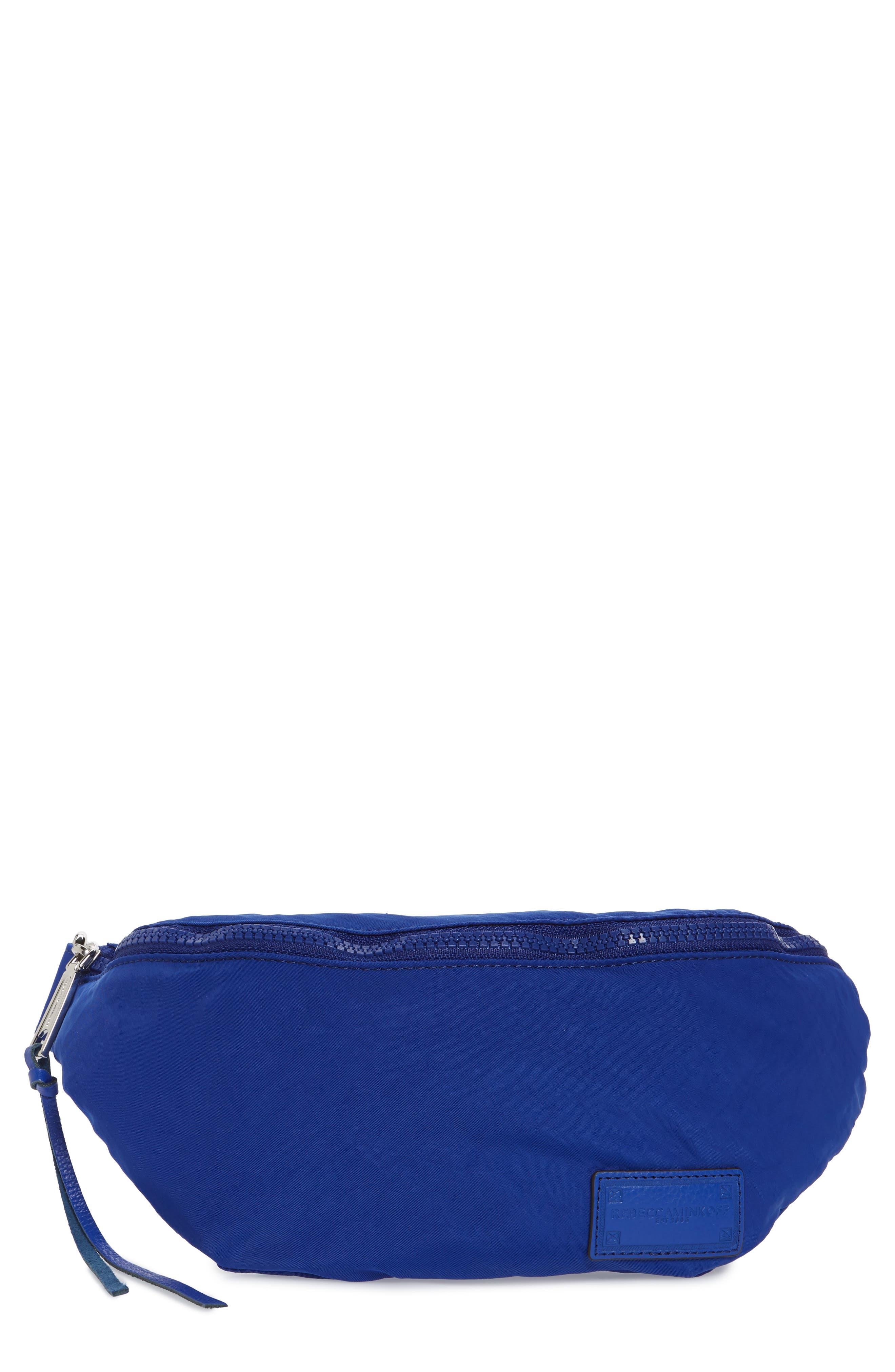 REBECCA MINKOFF, Nylon Belt Bag, Main thumbnail 1, color, BRIGHT BLUE