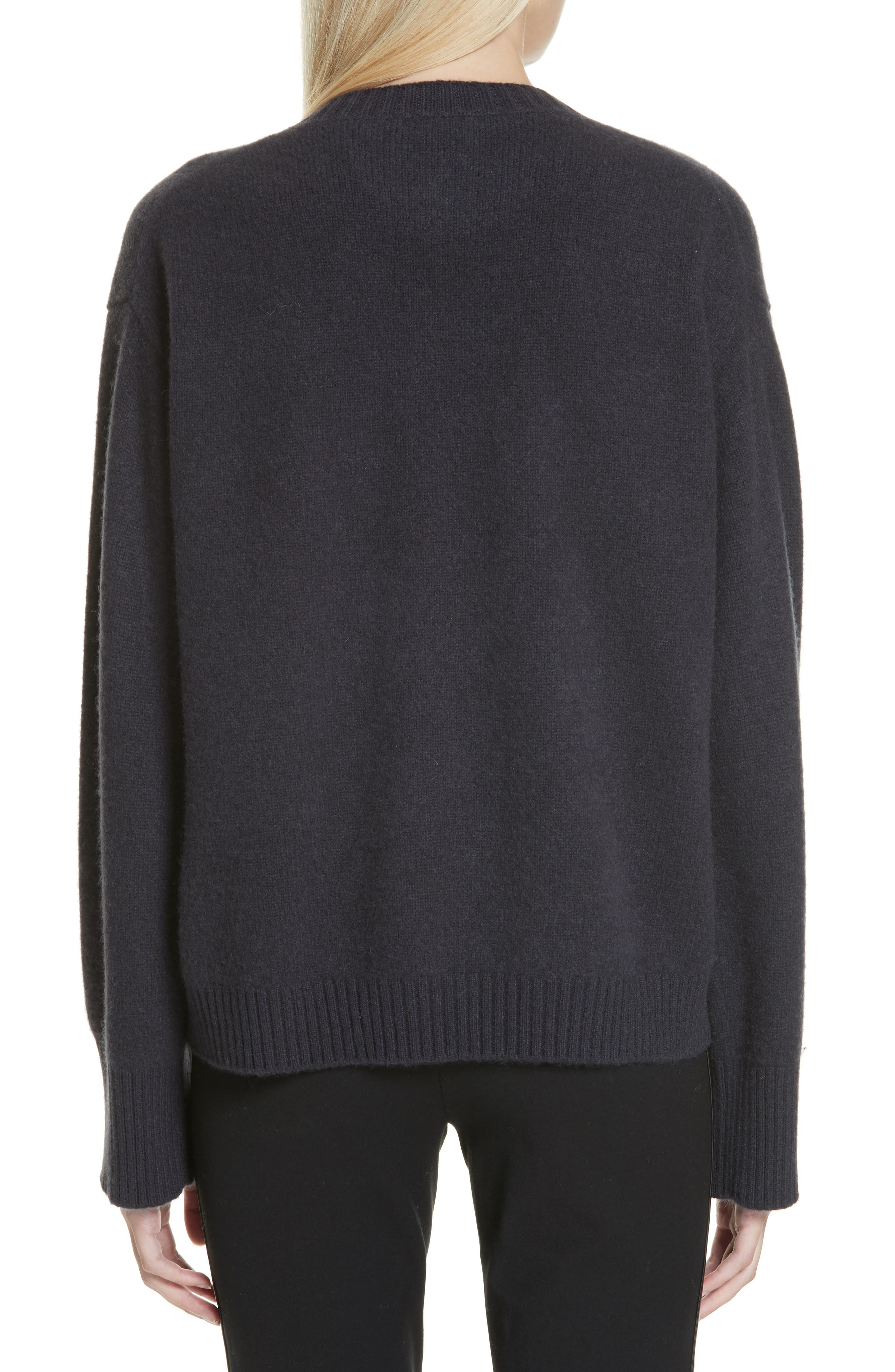 VINCE, Boxy Cashmere Sweater, Alternate thumbnail 2, color, OBSIDIAN