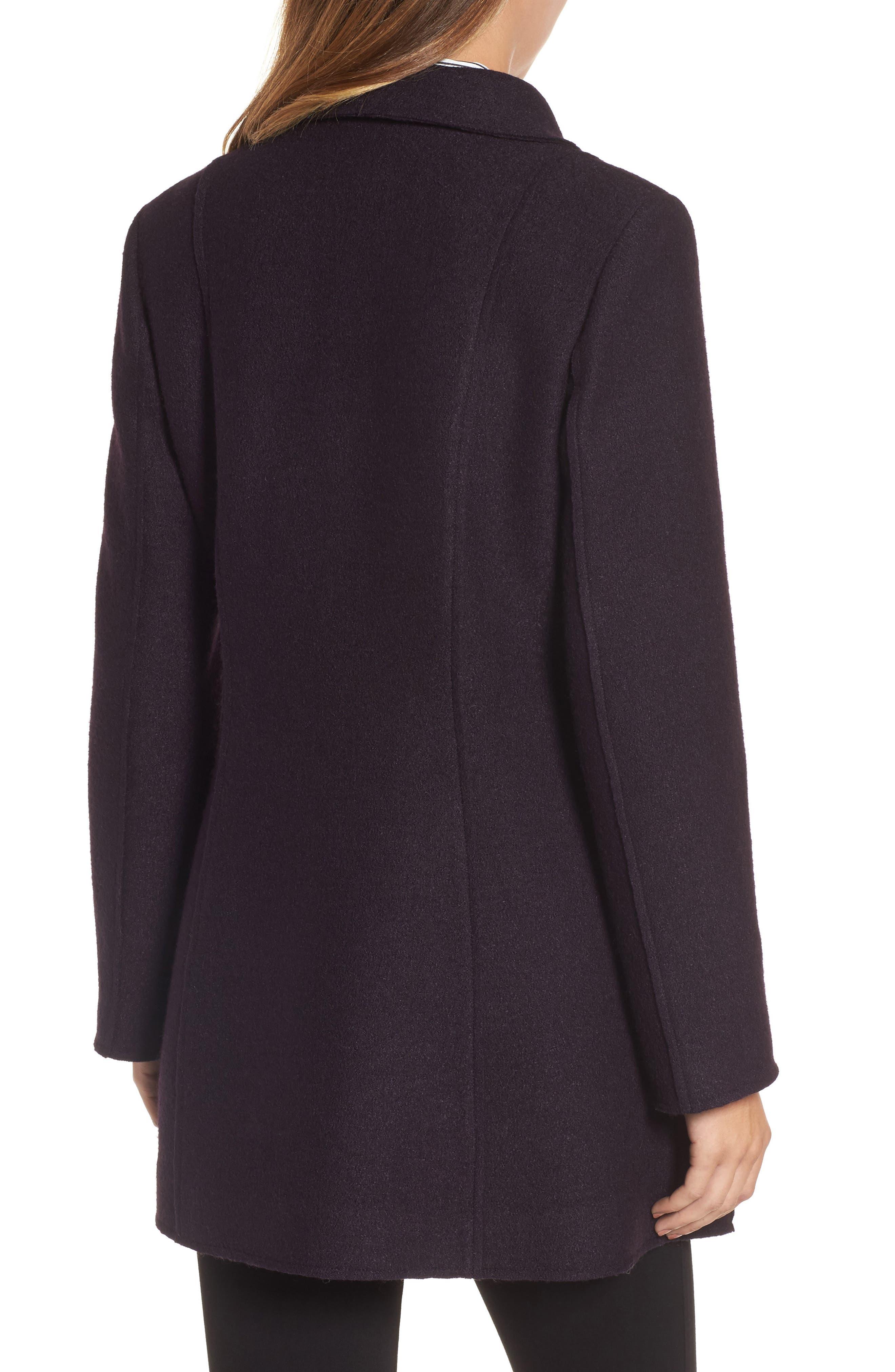HALOGEN<SUP>®</SUP>, Asymmetrical Zip Boiled Wool Blend Coat, Alternate thumbnail 2, color, 500