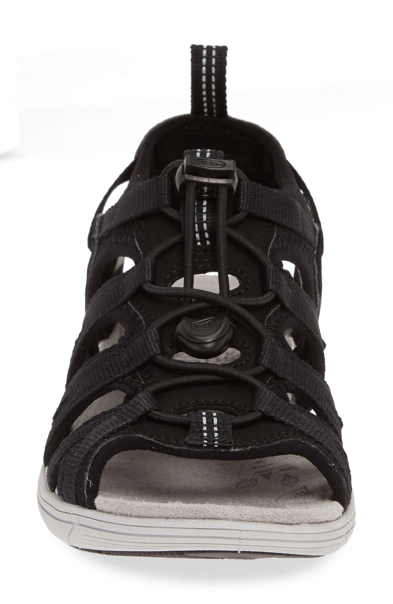 KEEN, Damaya Lattice Sandal, Alternate thumbnail 4, color, BLACK/ VAPOR FABRIC