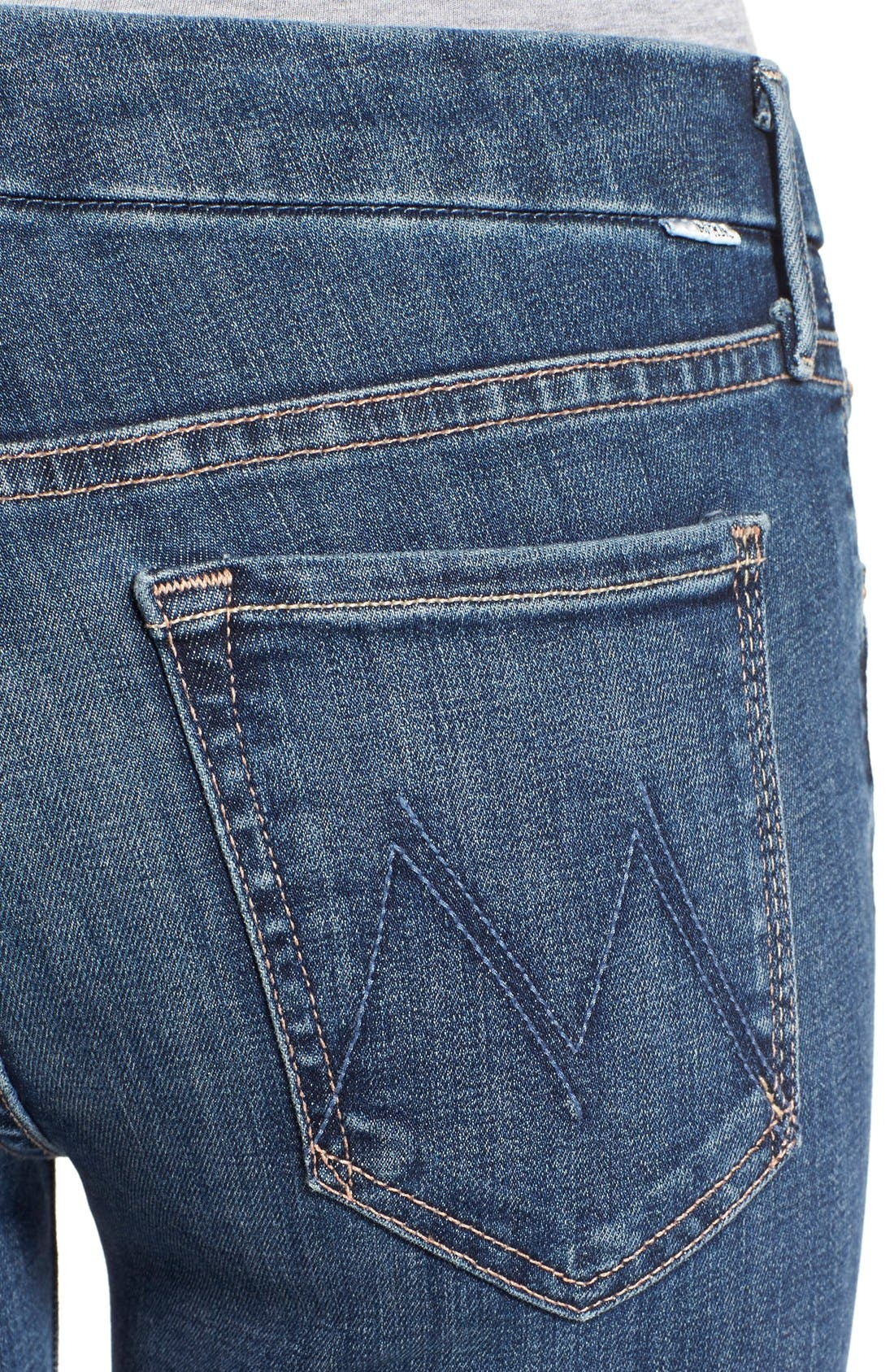 MOTHER, 'TheLooker'Frayed Ankle Jeans, Alternate thumbnail 5, color, 417