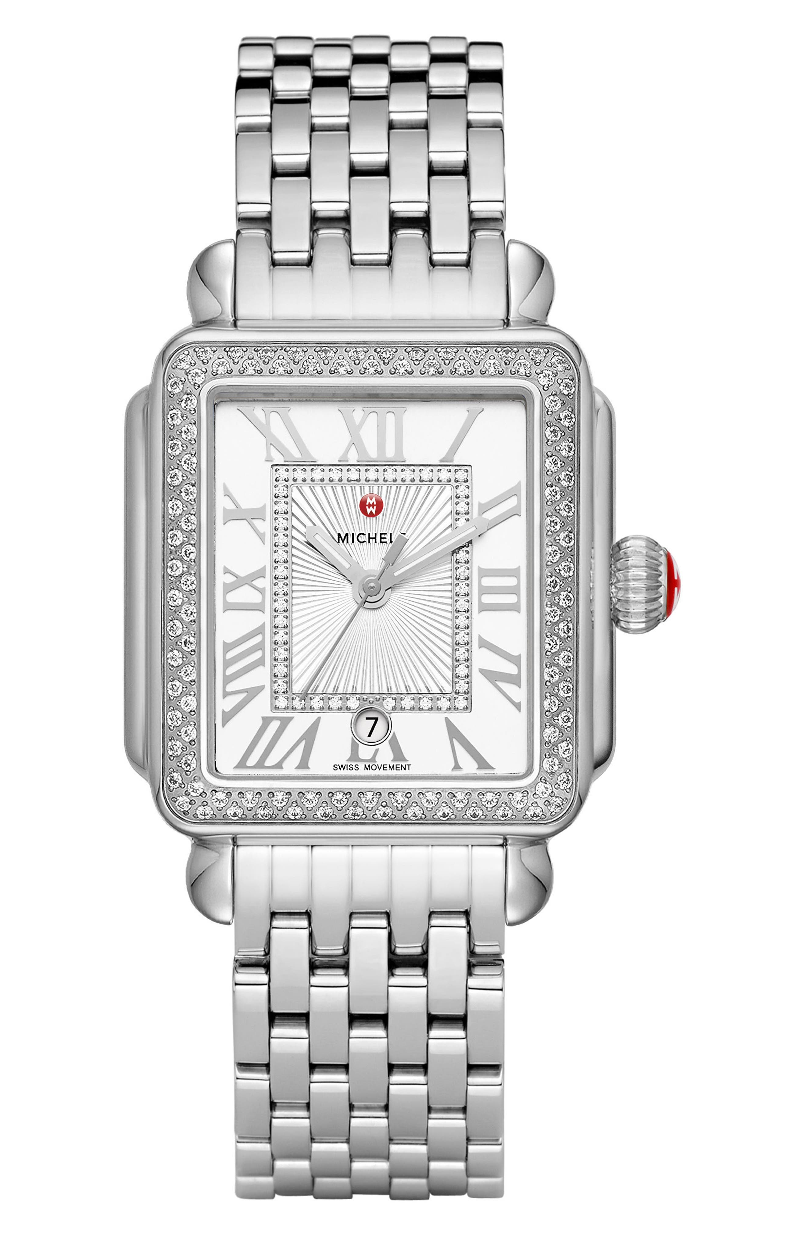 MICHELE, Deco Madison Diamond Dial Watch Case, 33mm x 35mm, Alternate thumbnail 2, color, SILVER/ WHITE/ SILVER
