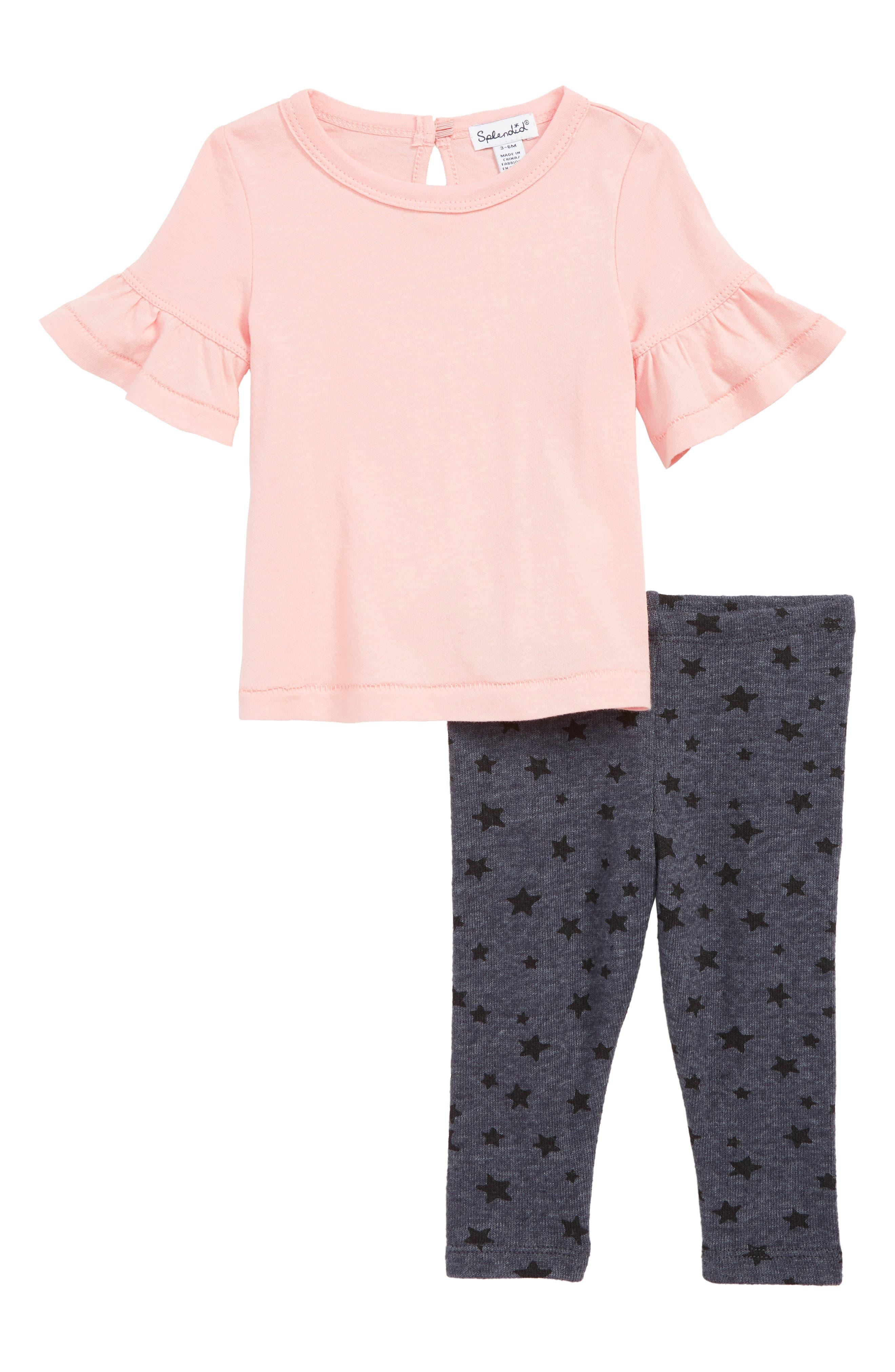 SPLENDID, Ruffle T-Shirt & Star Leggings Set, Main thumbnail 1, color, ANTIQUE PINK BEIGE