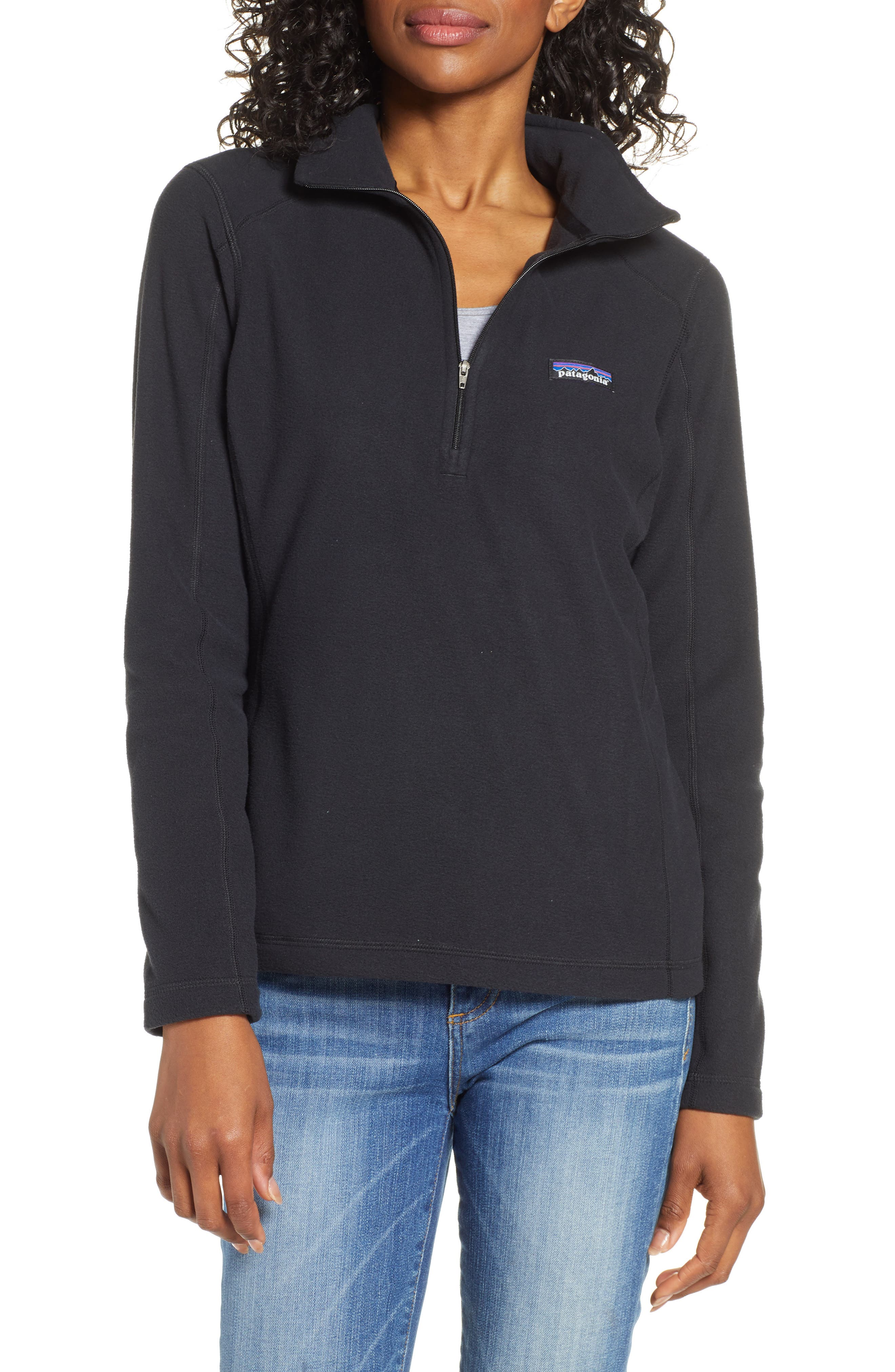 PATAGONIA Micro D<sup>®</sup> Quarter-Zip Fleece Pullover, Main, color, BLACK