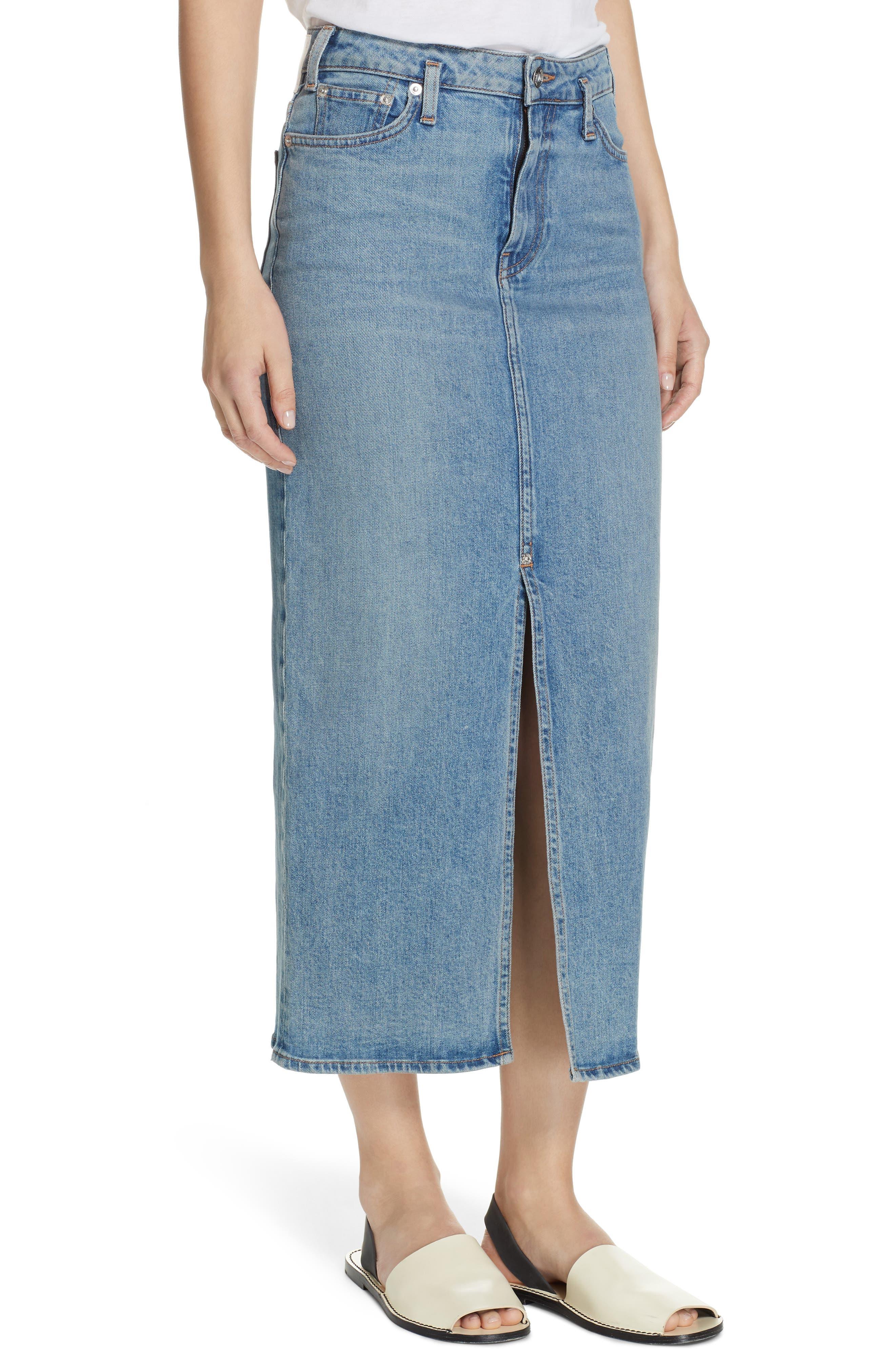 PROENZA SCHOULER, Slit Seam Denim Midi Skirt, Alternate thumbnail 4, color, CALIFORNIA