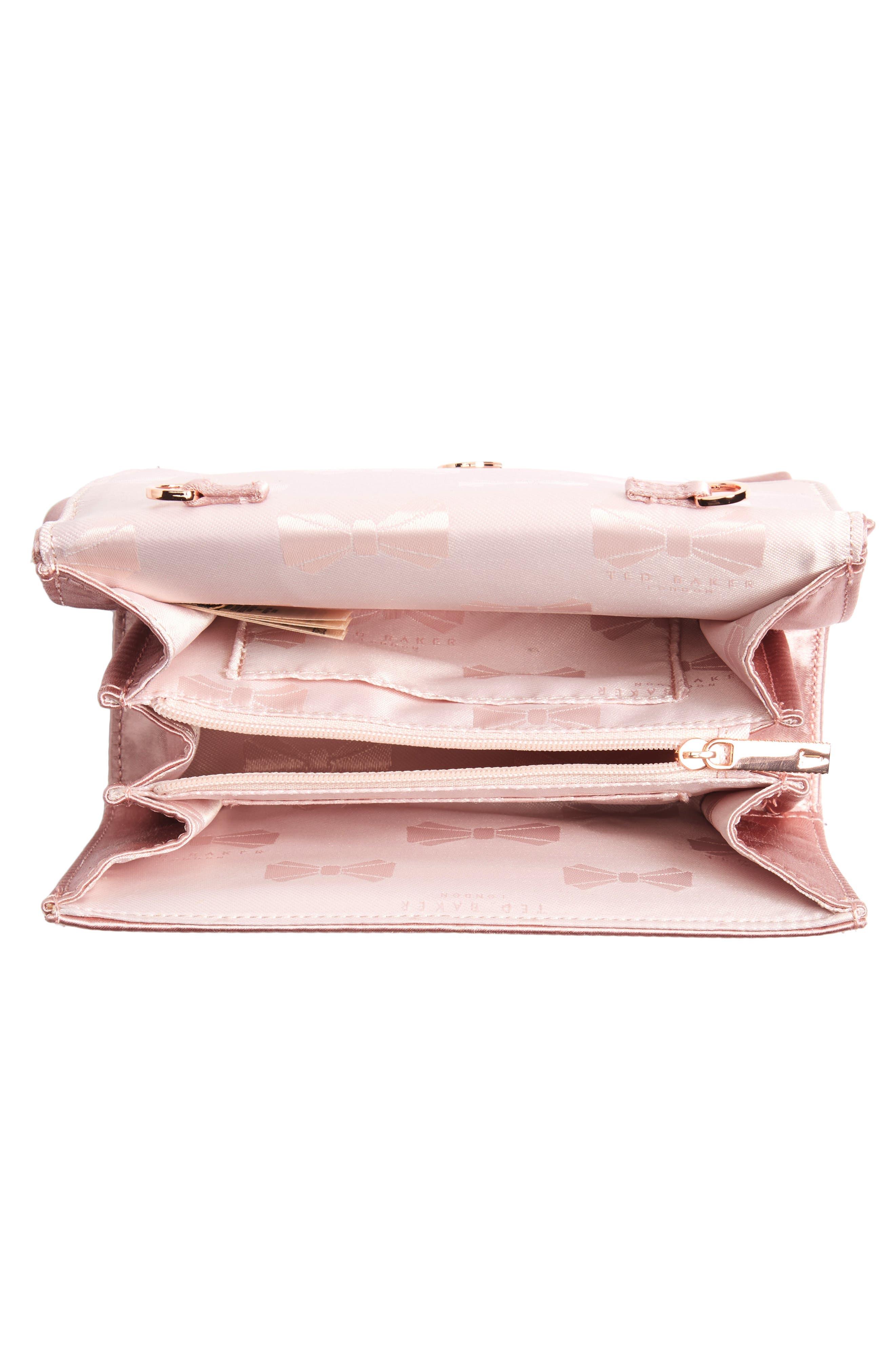 TED BAKER LONDON, Fefee Satin Knotted Bow Clutch, Alternate thumbnail 5, color, LIGHT PINK