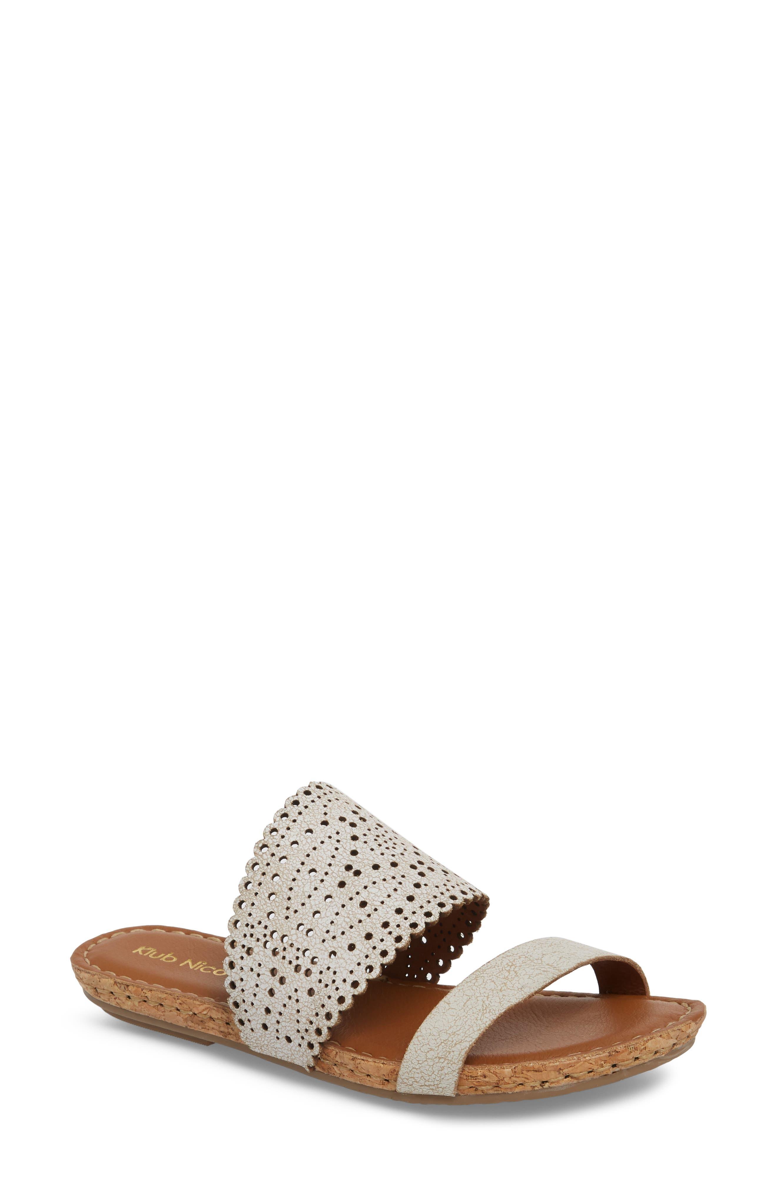 KLUB NICO, Ginette Perforated Slide Sandal, Main thumbnail 1, color, WHITE LEATHER