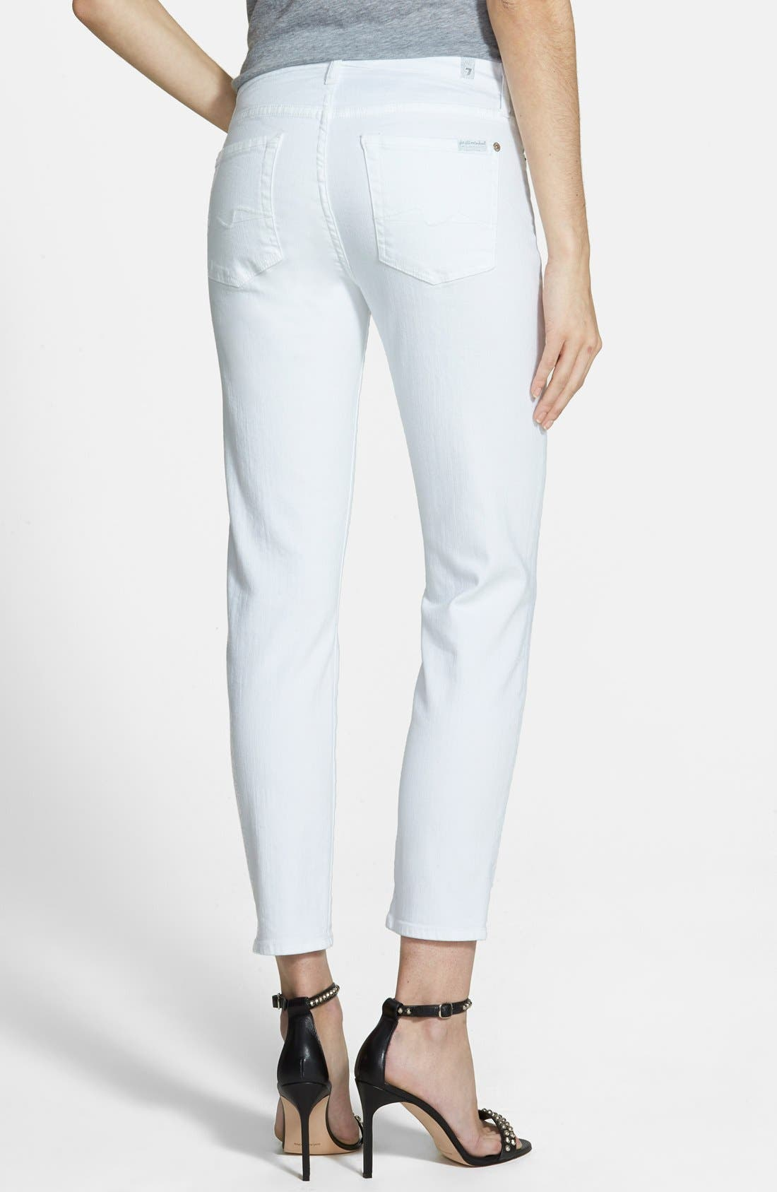 7 FOR ALL MANKIND<SUP>®</SUP>, 'Kimmie' Crop Skinny Jeans, Alternate thumbnail 2, color, CLEAN WHITE