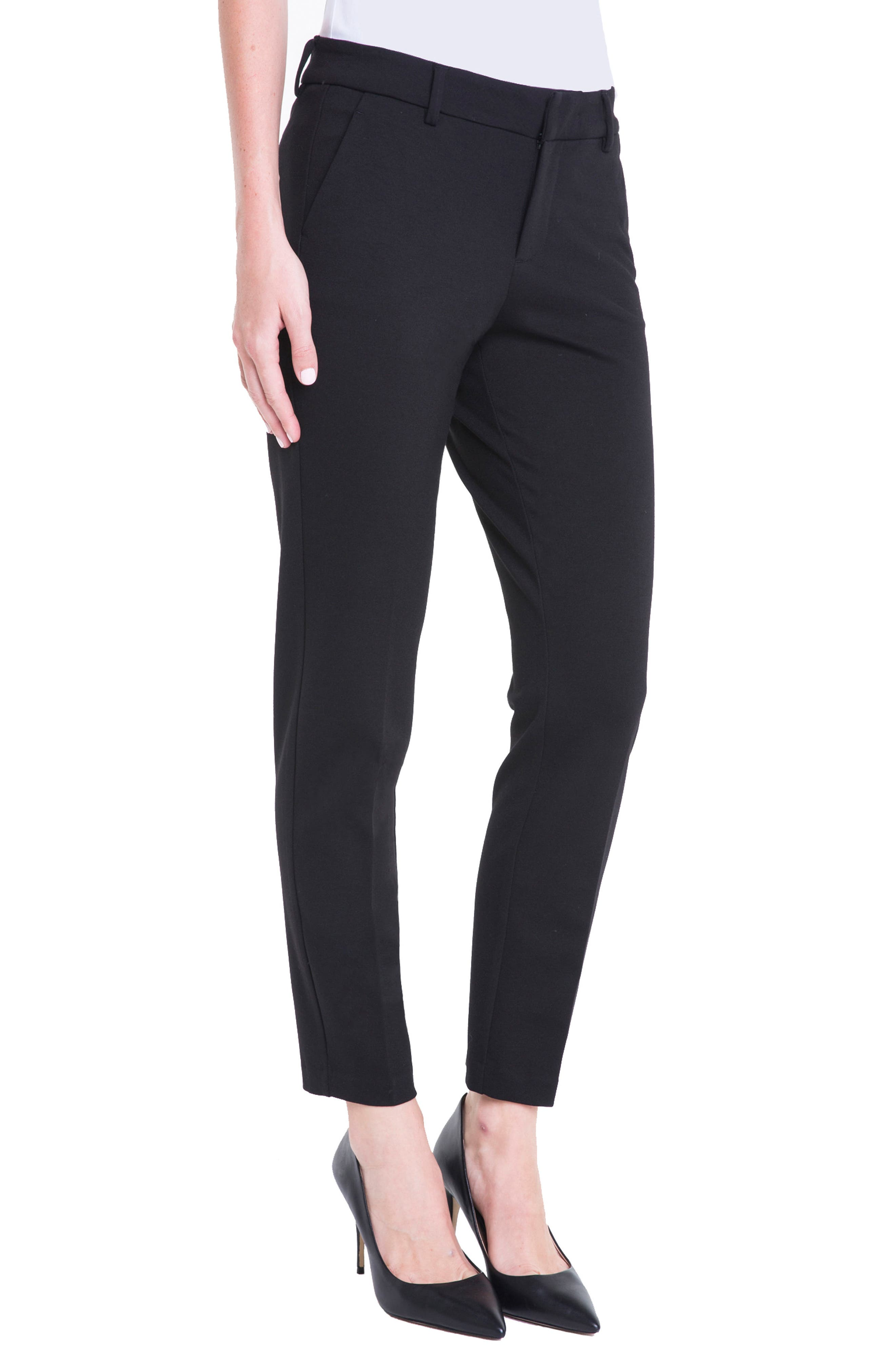 LIVERPOOL, Kelsey Knit Trousers, Alternate thumbnail 4, color, BLACK