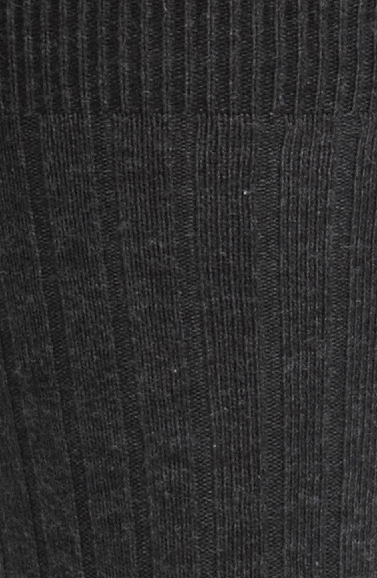 NORDSTROM MEN'S SHOP, Cotton Blend Socks, Alternate thumbnail 2, color, BLACK HEATHER