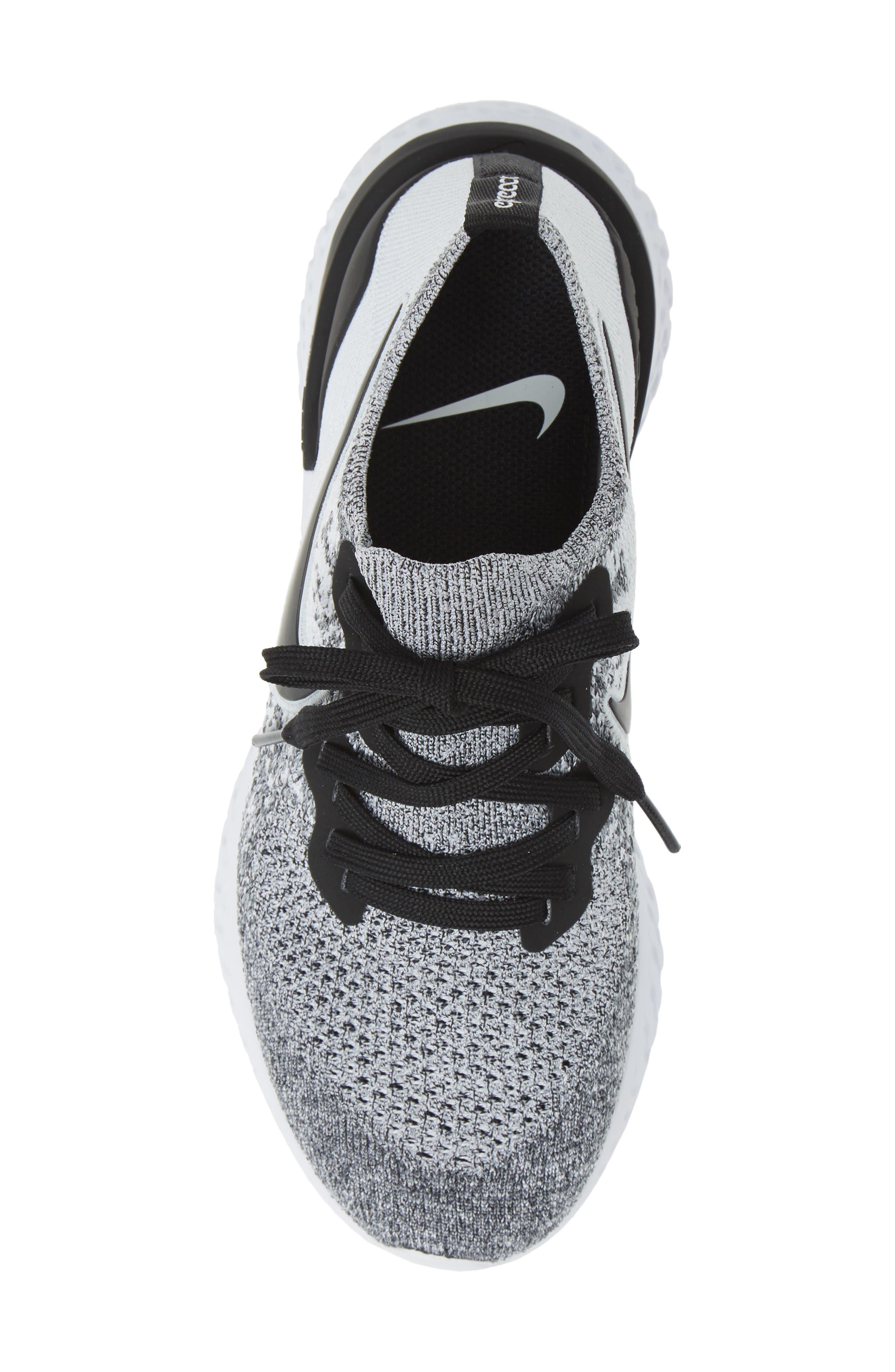 NIKE, Epic React Flyknit 2 Running Shoe, Alternate thumbnail 5, color, WHITE/ BLACK/ PURE PLATINUM
