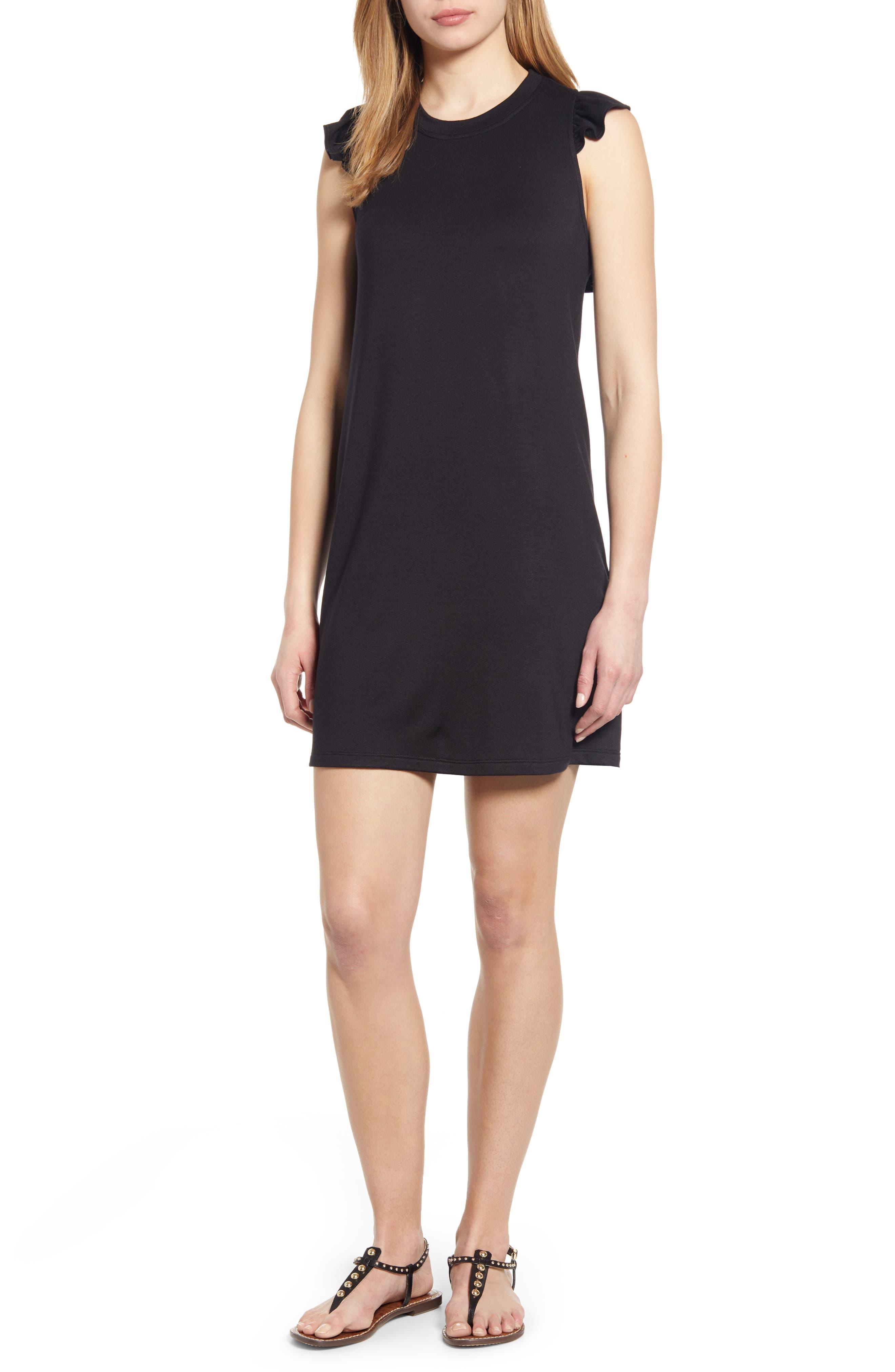 GIBSON, x Hi Sugarplum! Laguna Soft Jersey Ruffle Back T-Shirt Dress, Main thumbnail 1, color, BLACK
