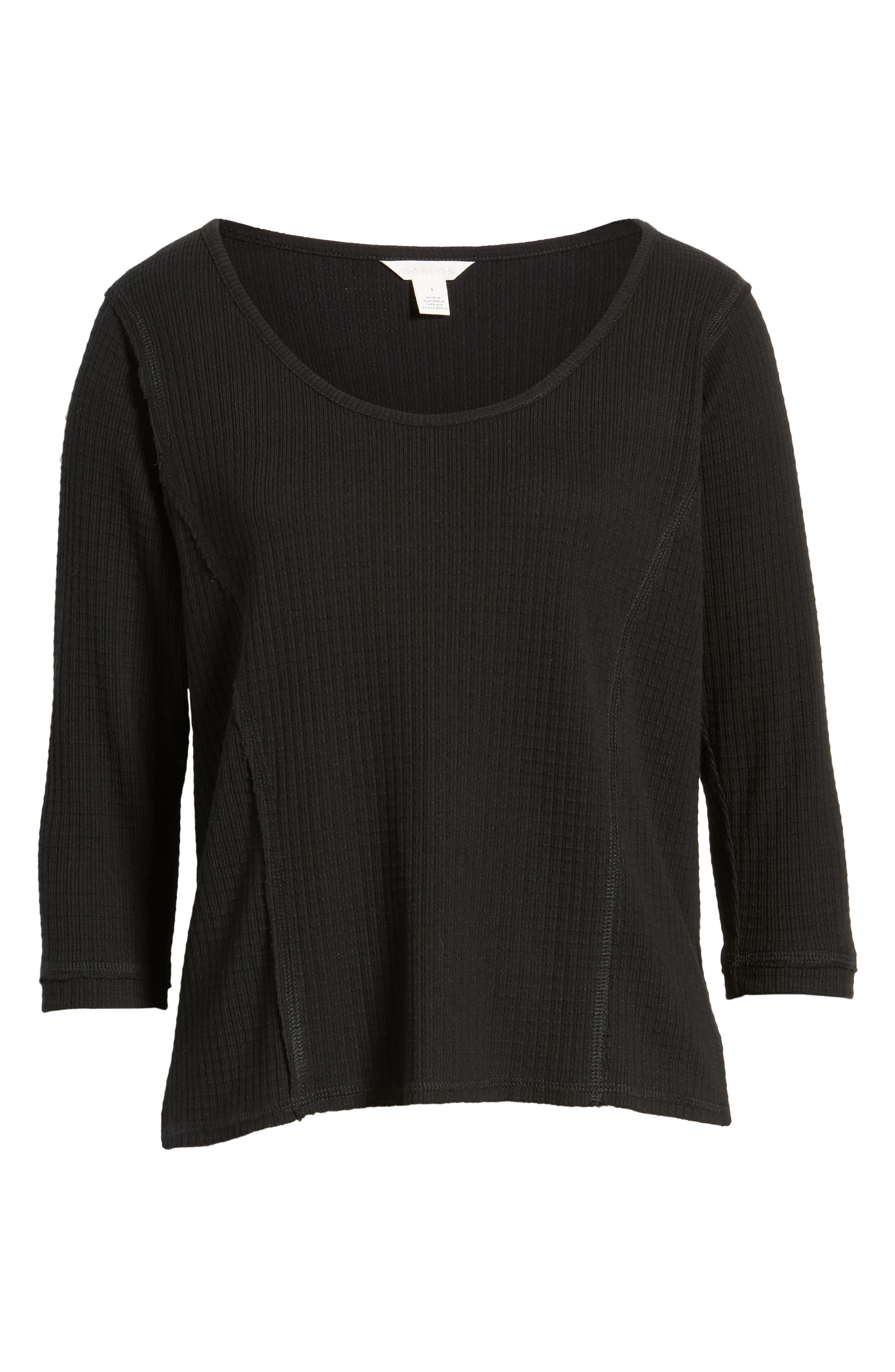 CASLON<SUP>®</SUP>, Off-Duty Waffle Knit Tee, Alternate thumbnail 6, color, BLACK