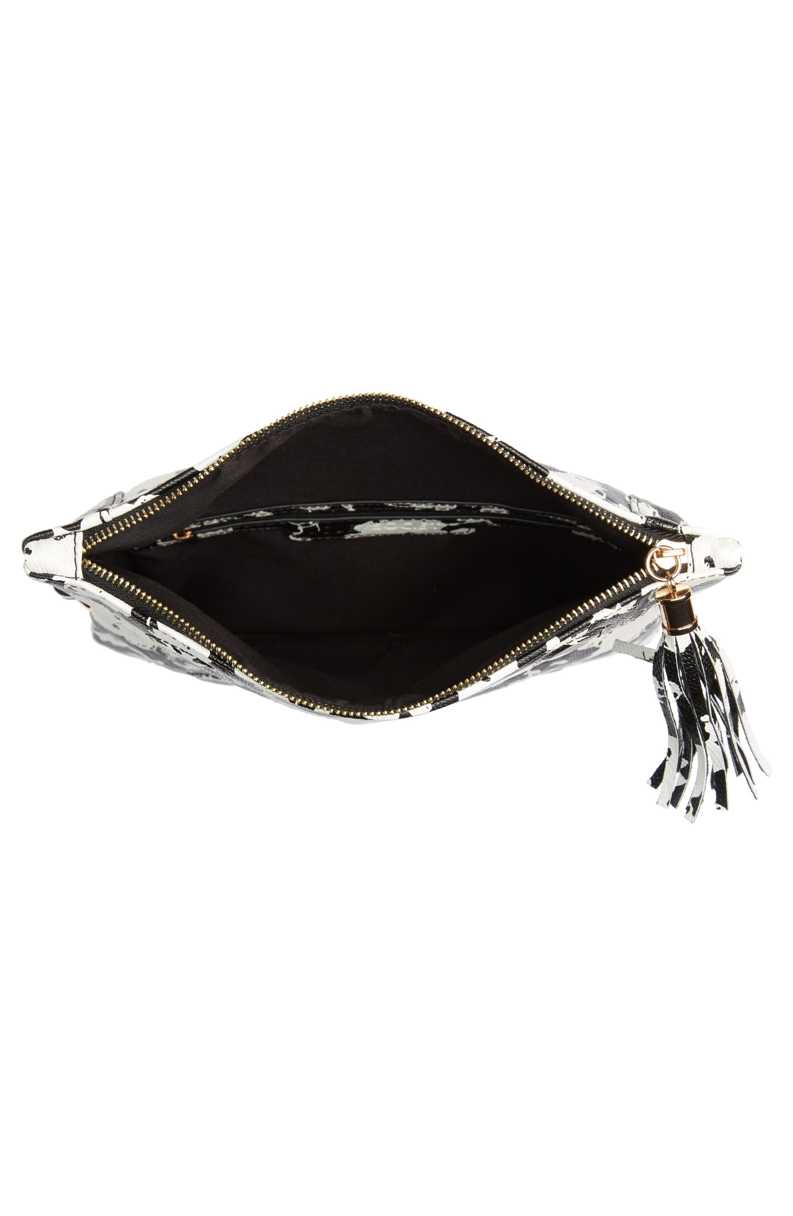 SOLE SOCIETY, 'Tasia' Print Foldover Clutch, Alternate thumbnail 5, color, BLACK FLORAL