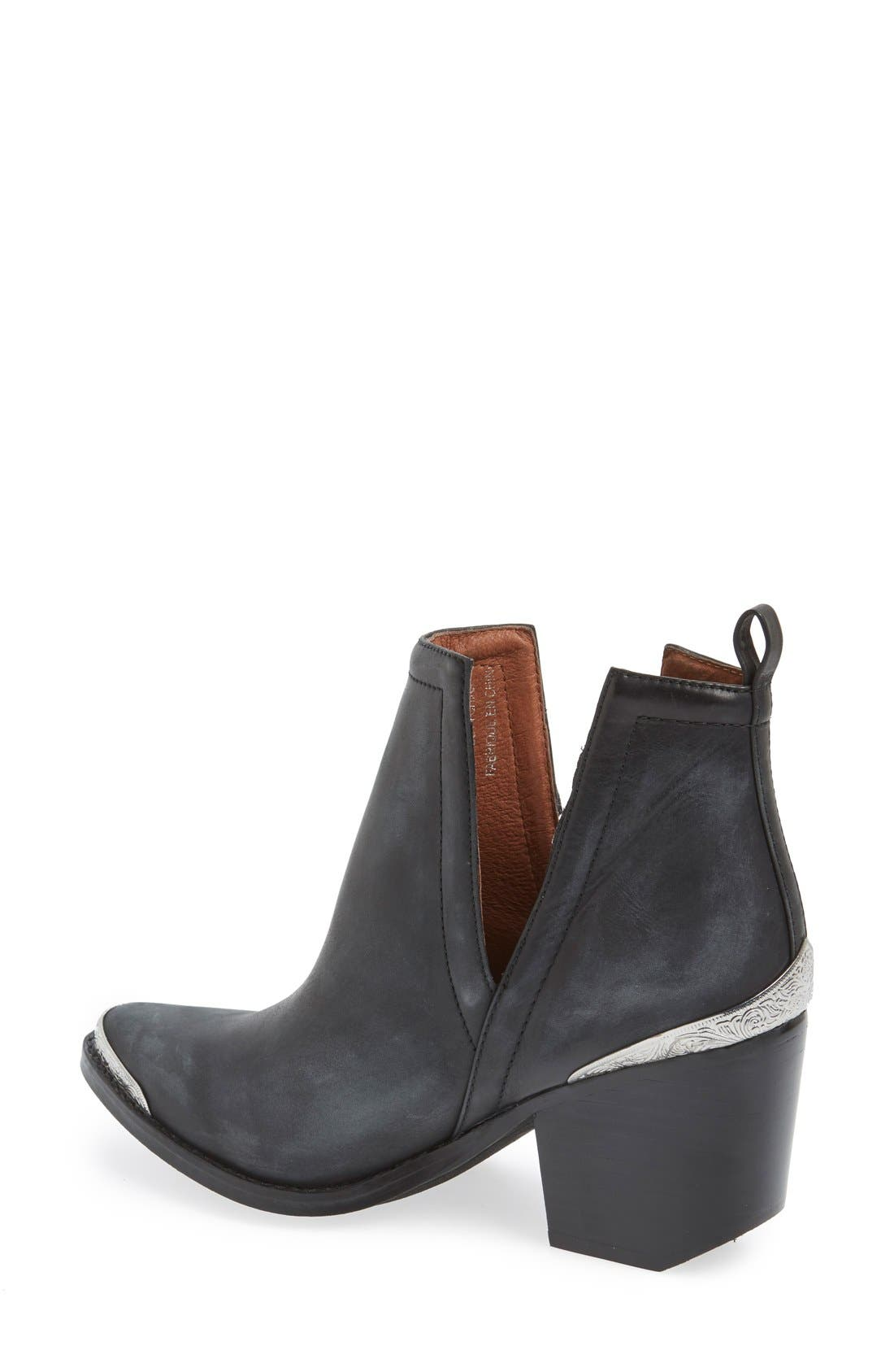 JEFFREY CAMPBELL, Cromwell Cutout Western Boot, Alternate thumbnail 8, color, BLACK DISTRESSED