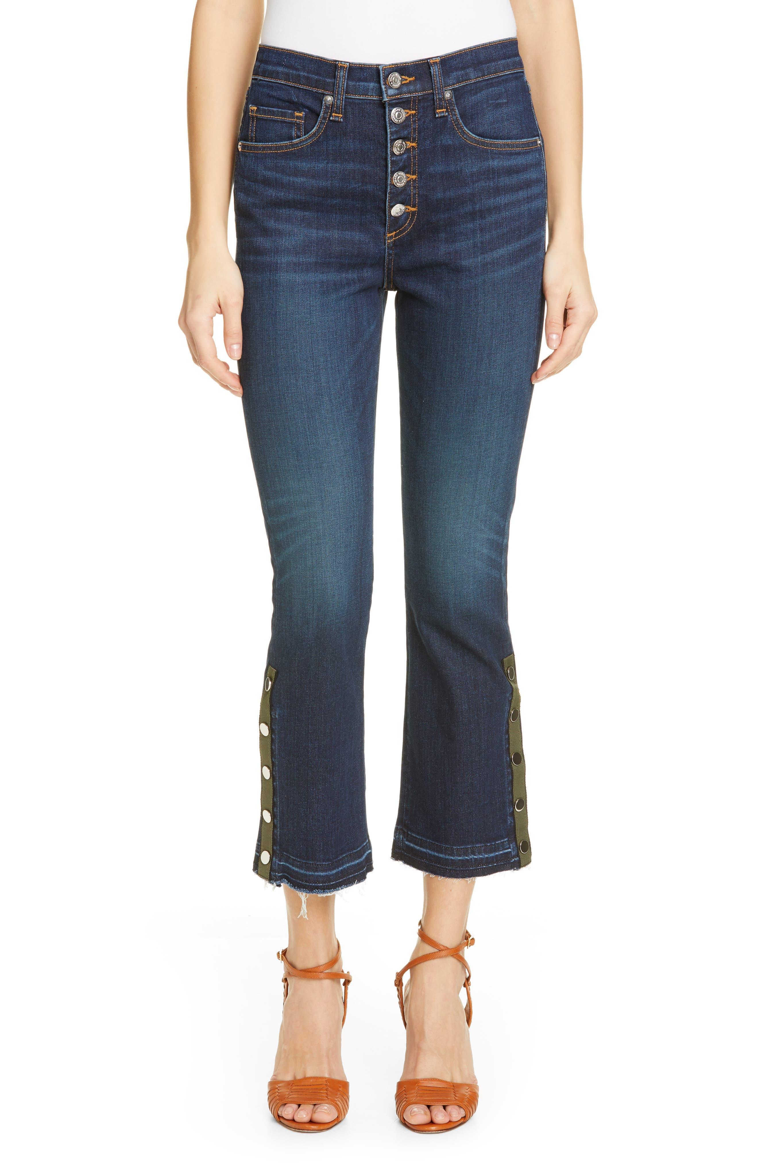 VERONICA BEARD, Carolyn Side Vent Baby Boot Jeans, Main thumbnail 1, color, DARK VINTAGE