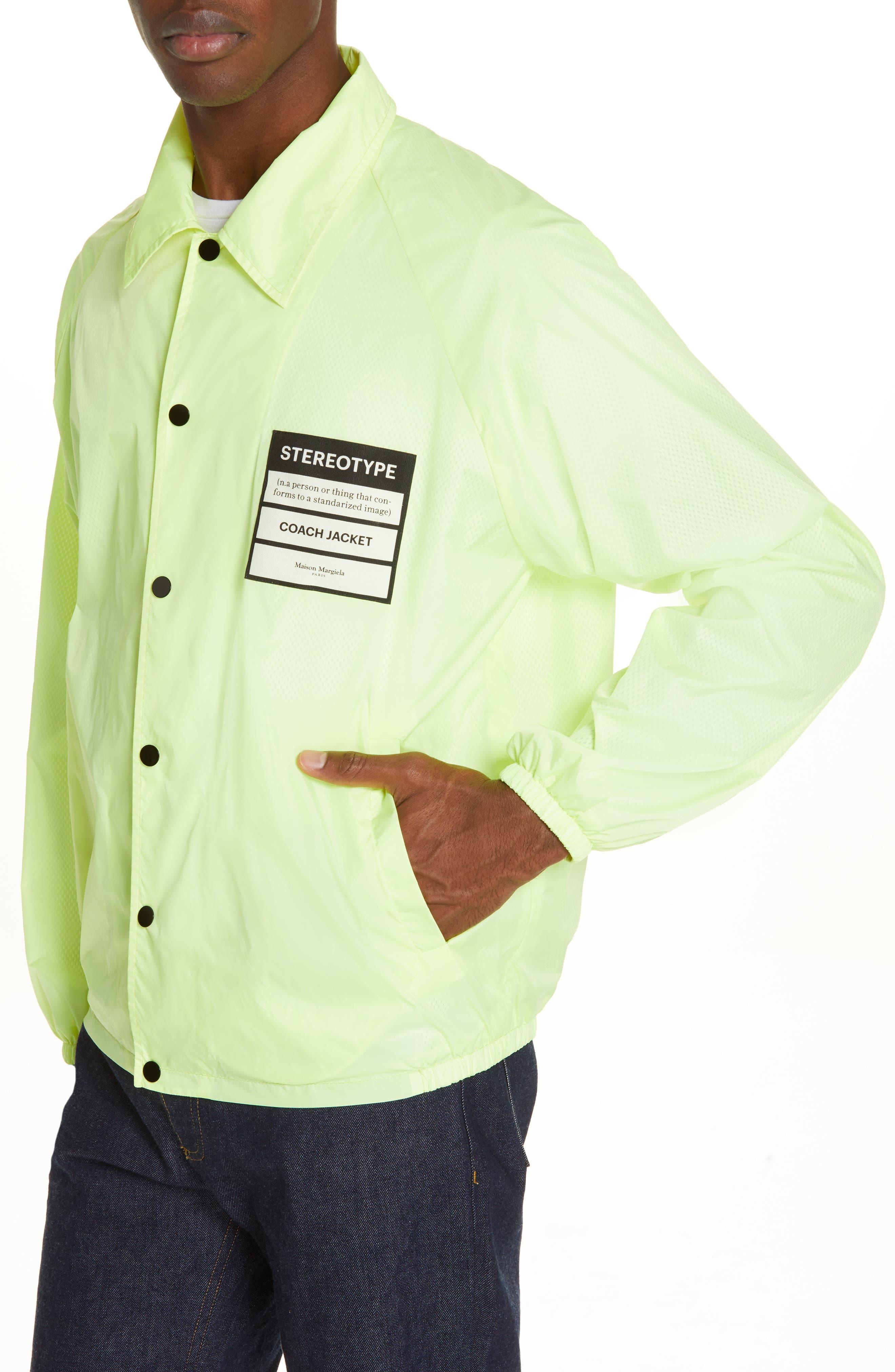 MAISON MARGIELA, Stereotype Coach's Jacket, Alternate thumbnail 4, color, NEON YELLOW