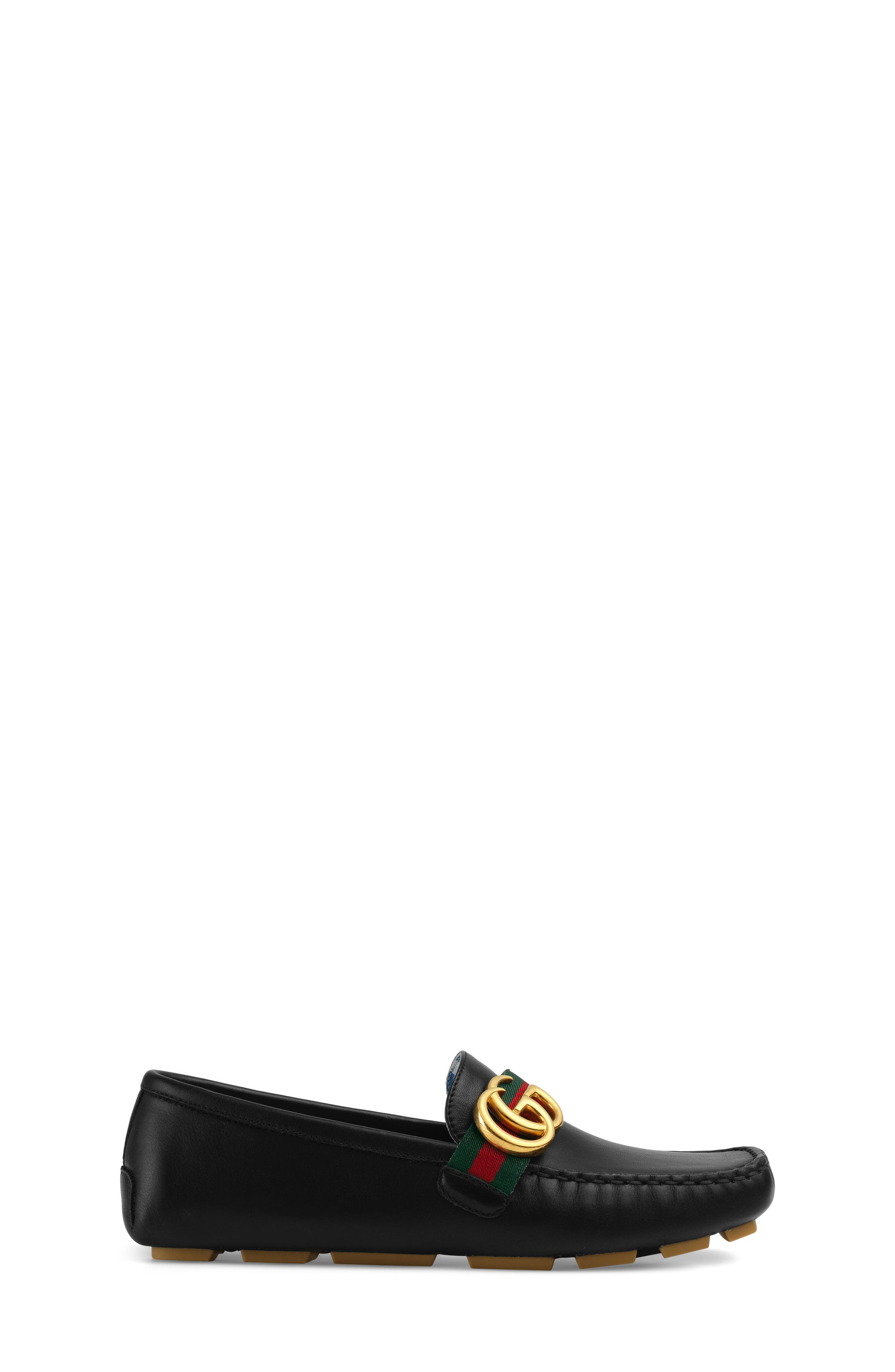 GUCCI, Noel Driving Loafer, Alternate thumbnail 3, color, BLACK