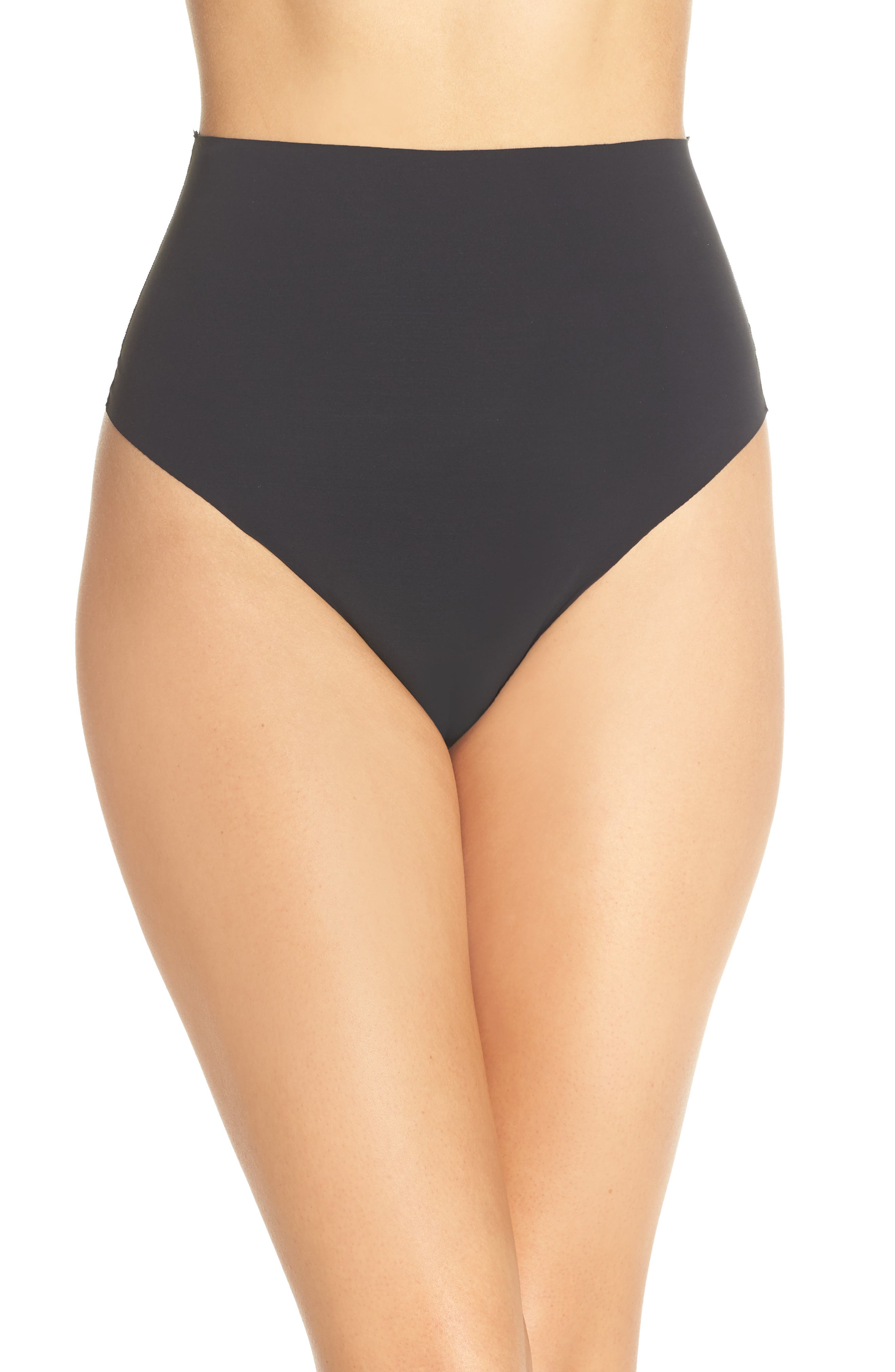YUMMIE Smooth Solutions Mid Waist Thong, Main, color, BLACK