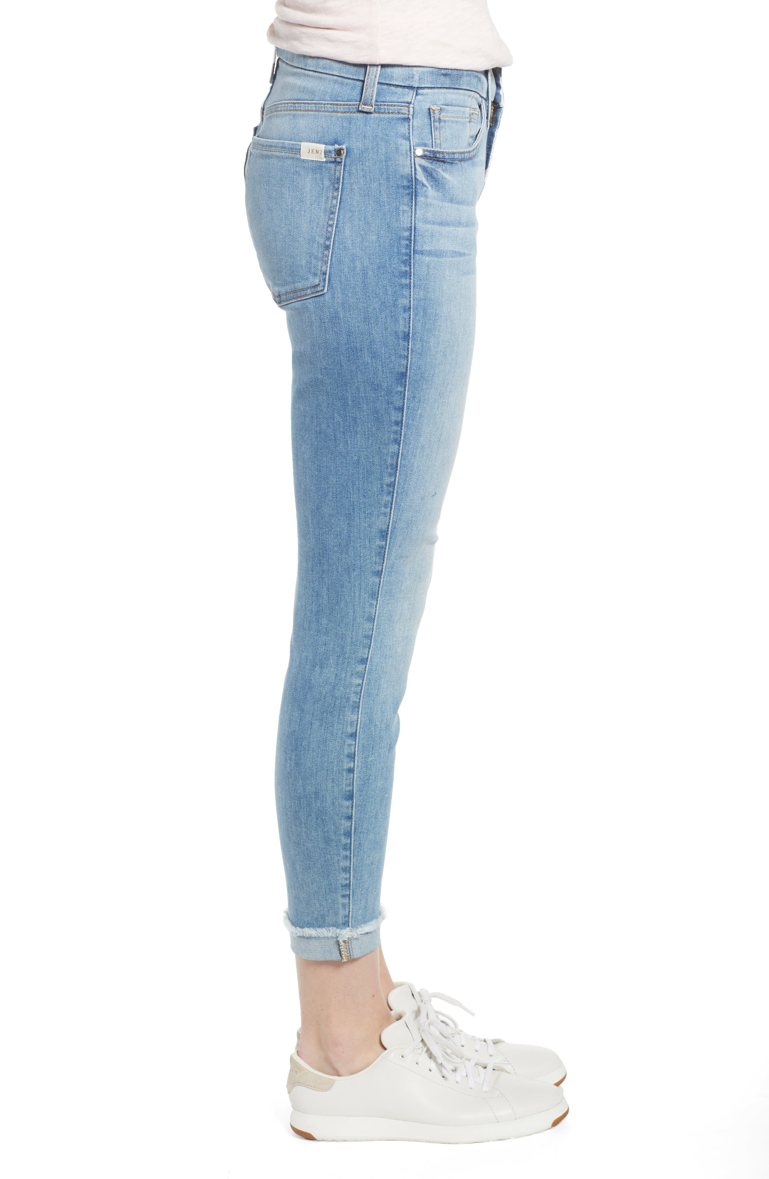 JEN7 BY 7 FOR ALL MANKIND, Cuffed Crop Skinny Jeans, Alternate thumbnail 4, color, LA QUINTA