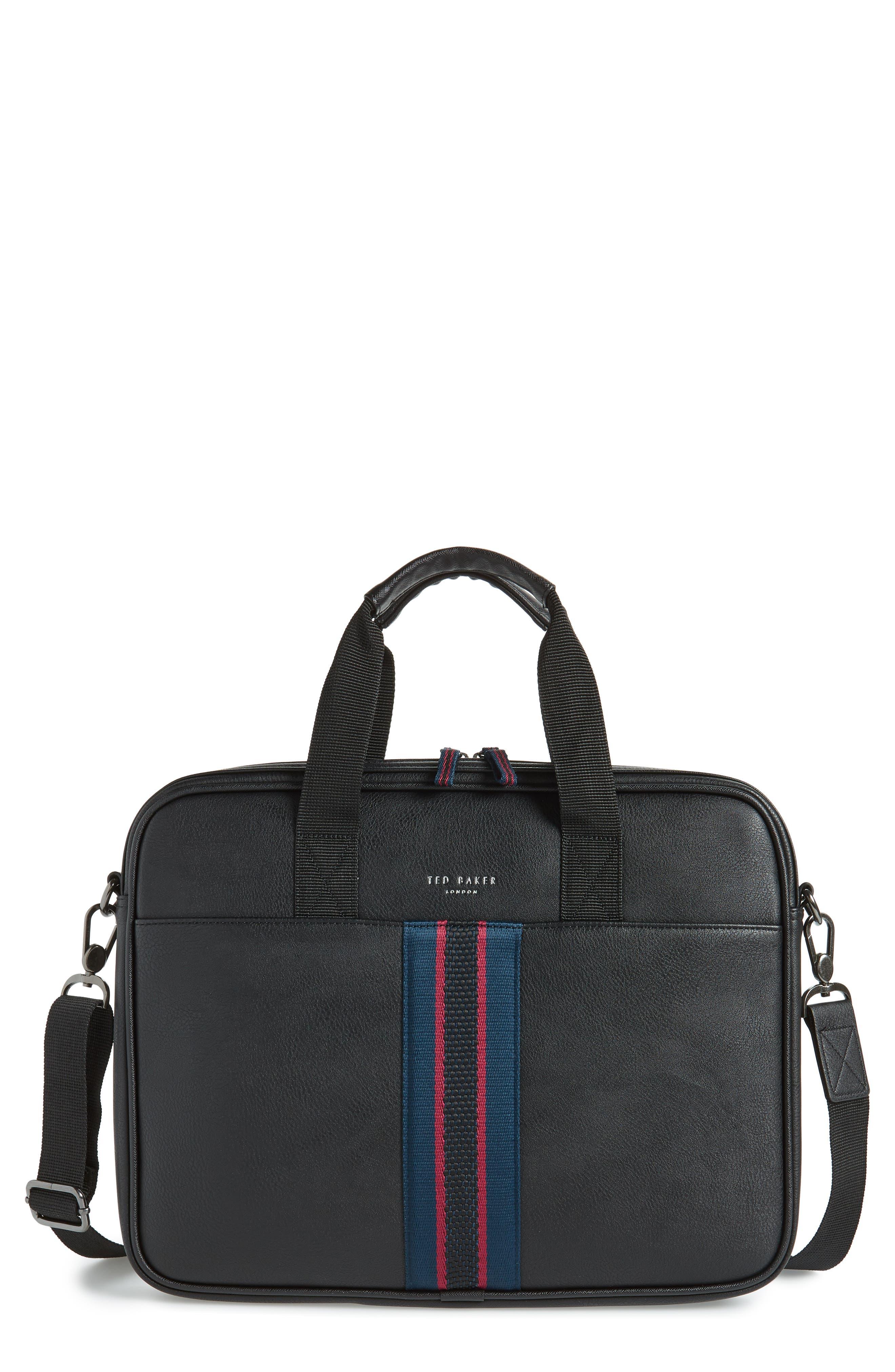 TED BAKER LONDON, Faux Leather Document Bag, Main thumbnail 1, color, BLACK