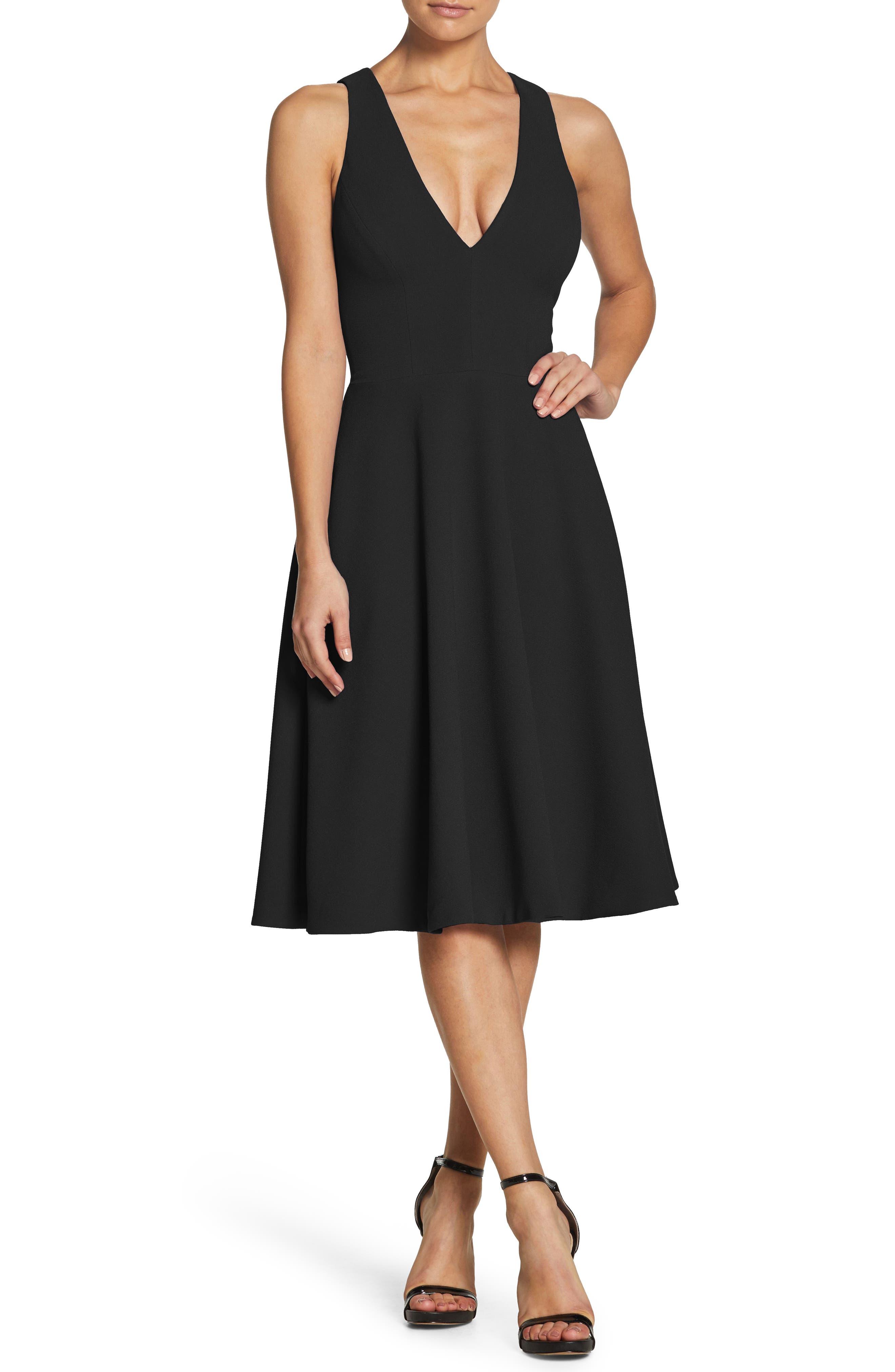Dress The Population Catalina Tea Length Fit & Flare Dress, Black