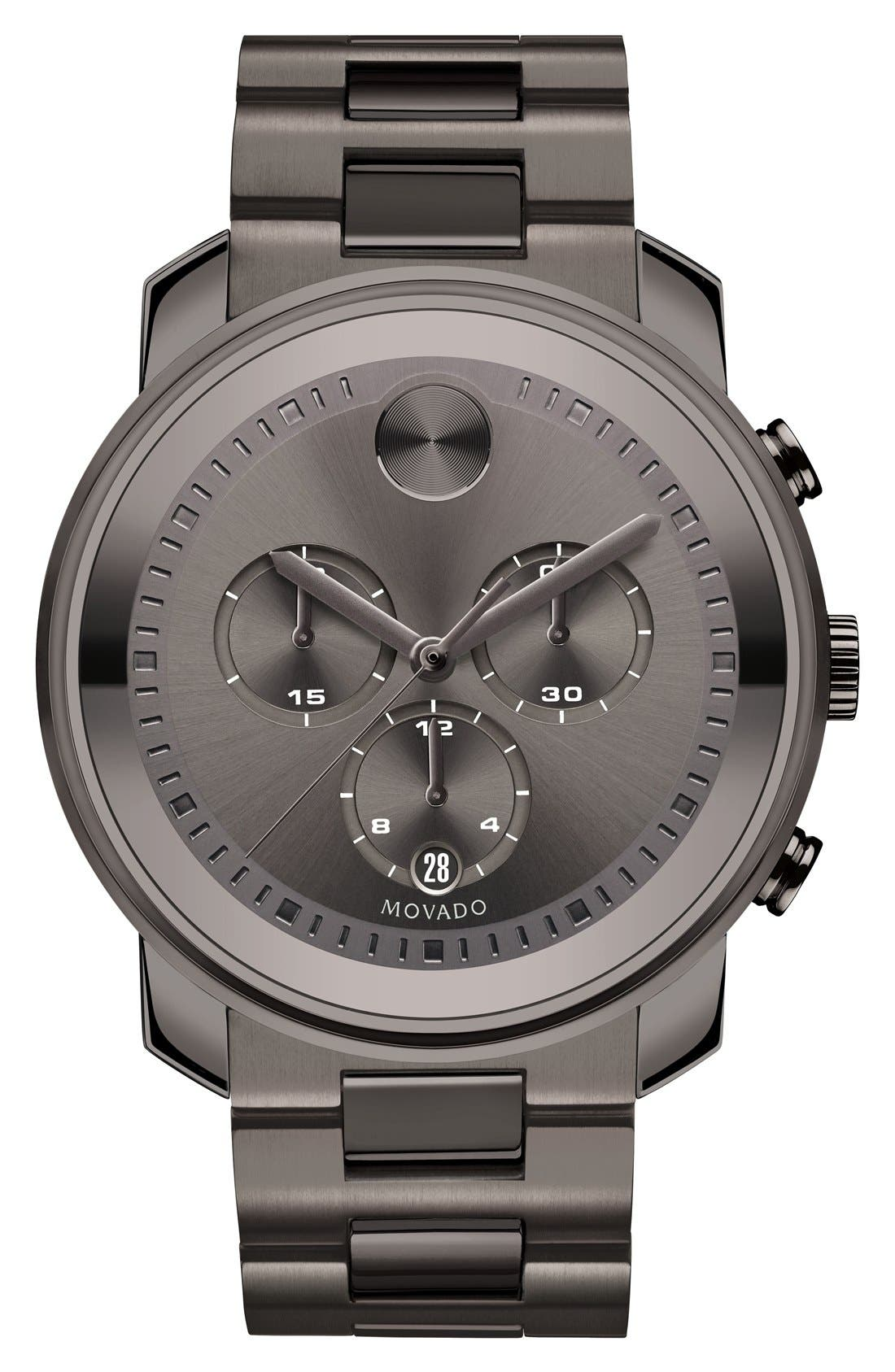MOVADO, Bold Chronograph Bracelet Watch, 44mm, Main thumbnail 1, color, GUNMETAL
