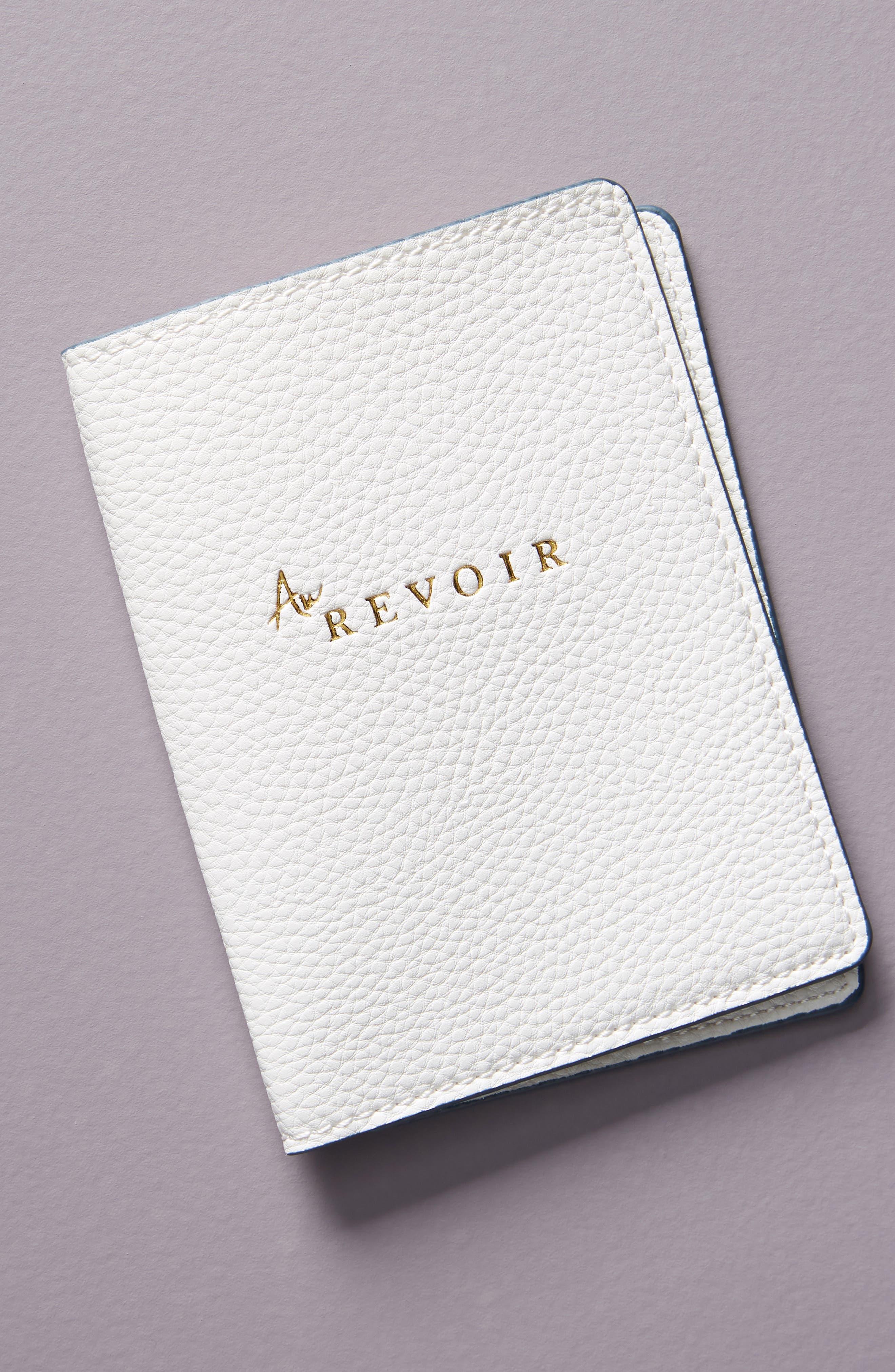 ANTHROPOLOGIE Au Revoir Passport Holder, Main, color, WHITE