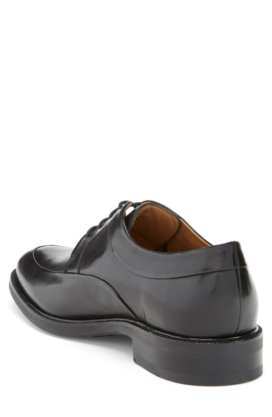 COLE HAAN, 'Warren' Apron Toe Derby, Alternate thumbnail 3, color, BLACK LEATHER