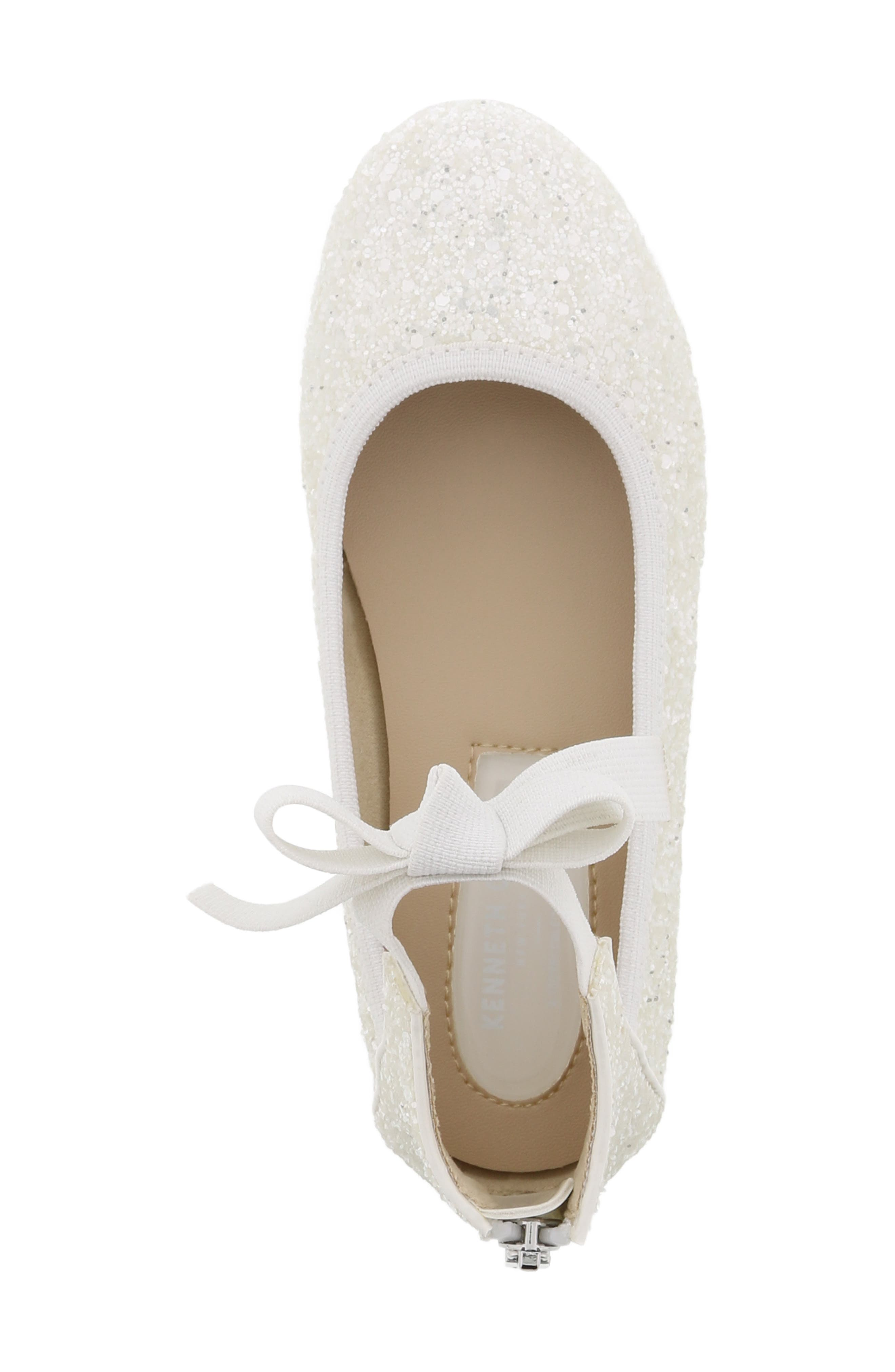 KENNETH COLE NEW YORK, Rose Bow Ballet Flat, Alternate thumbnail 5, color, WHITE SUGAR GLITTER