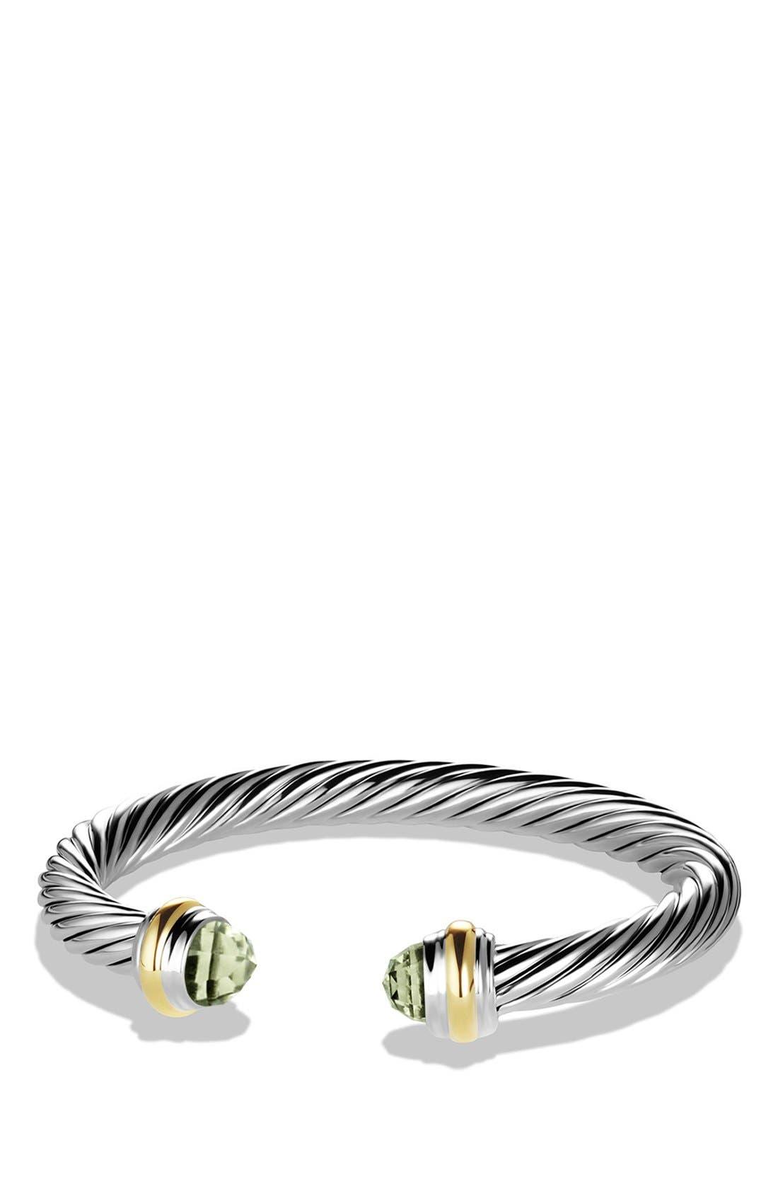 DAVID YURMAN, Cable Classics Bracelet with Semiprecious Stones & 14K Gold, 7mm, Main thumbnail 1, color, PRASIOLITE