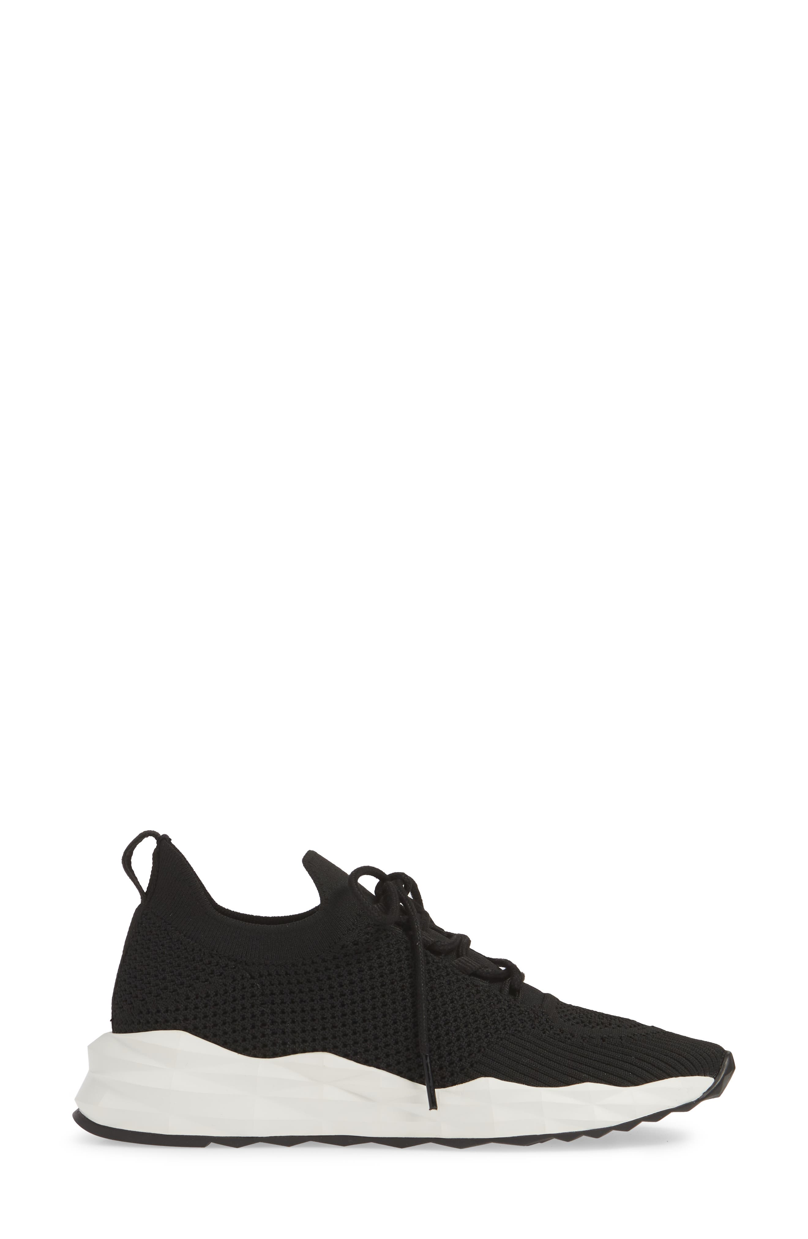 ASH, Knit Skate Sneaker, Alternate thumbnail 3, color, BLACK/ BLACK