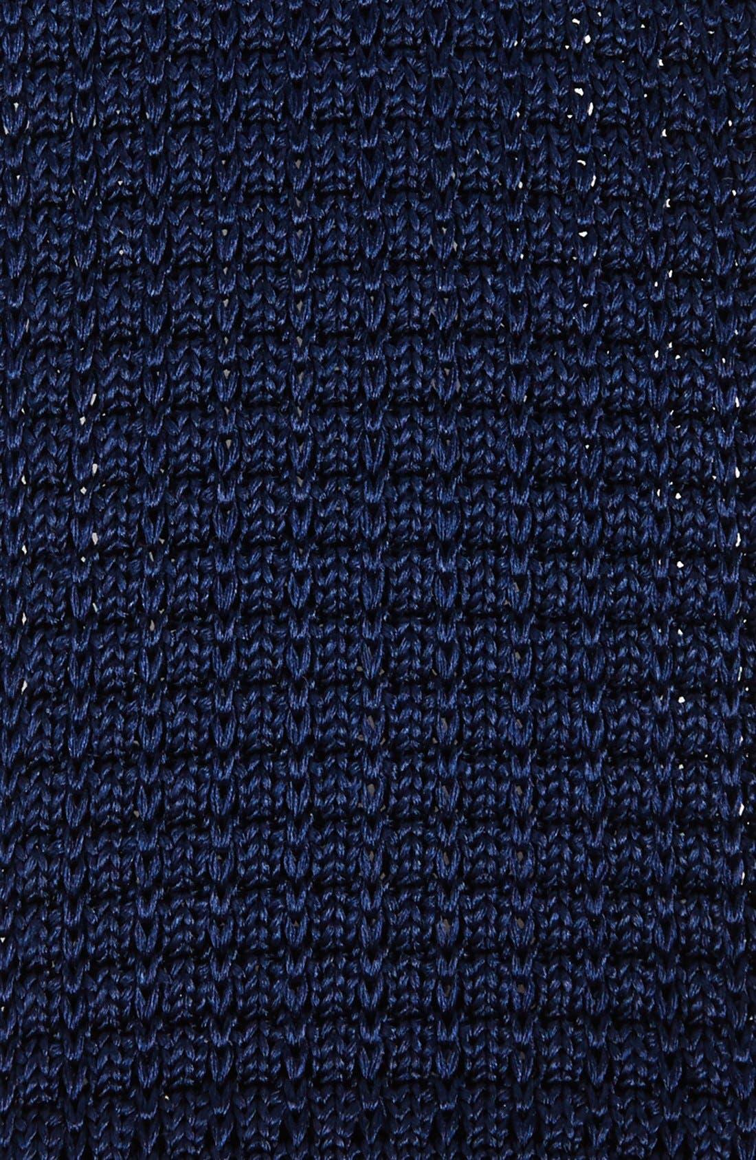 THE TIE BAR, Knit Silk Tie, Alternate thumbnail 2, color, NAVY