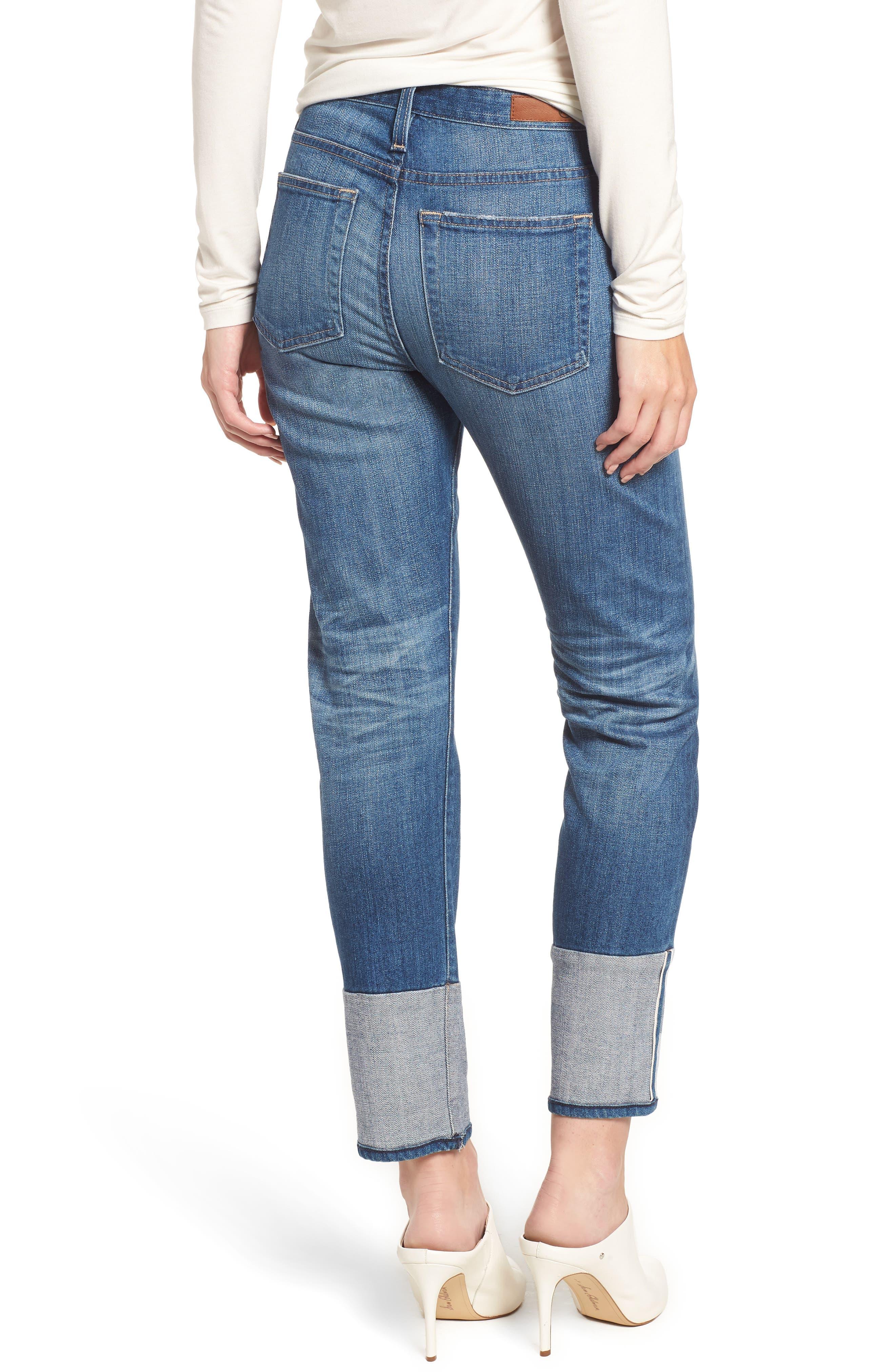 AG, The Isabelle High Waist Cuff Crop Straight Leg Jeans, Alternate thumbnail 2, color, 415