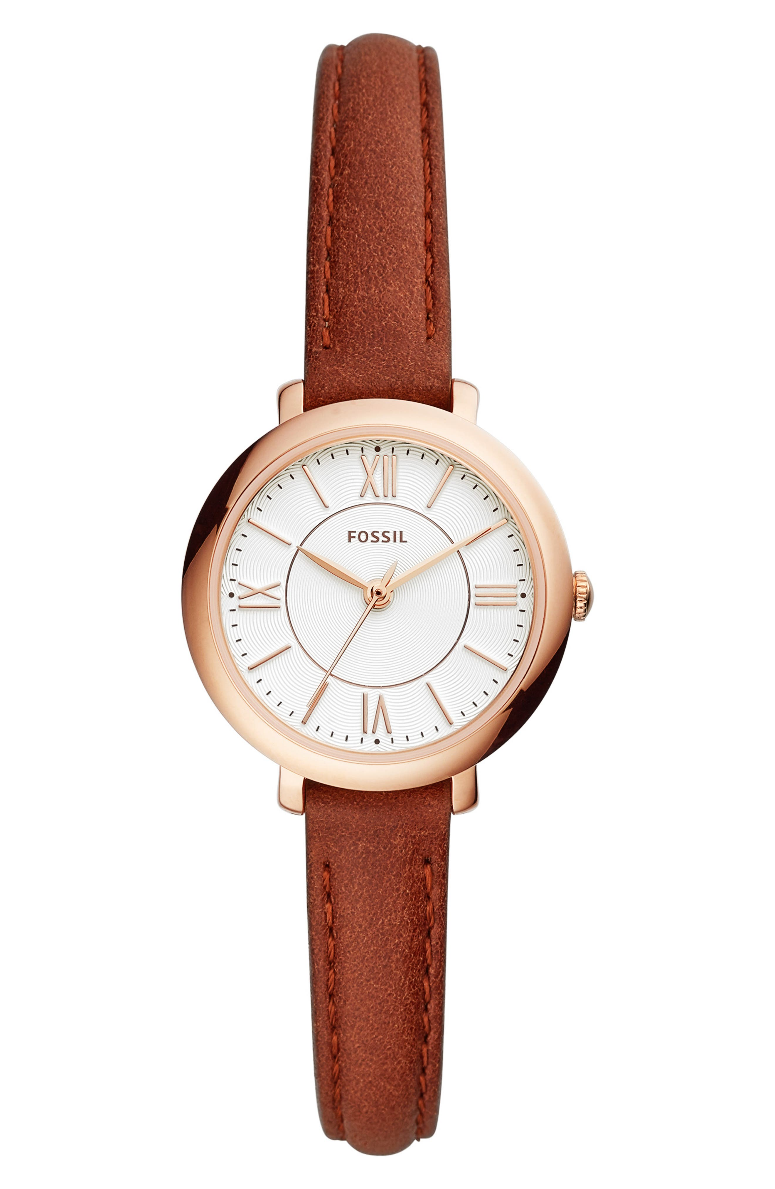 FOSSIL, Mini Jacqueline Leather Strap Watch, 27mm, Main thumbnail 1, color, BROWN/ WHITE/ ROSE GOLD