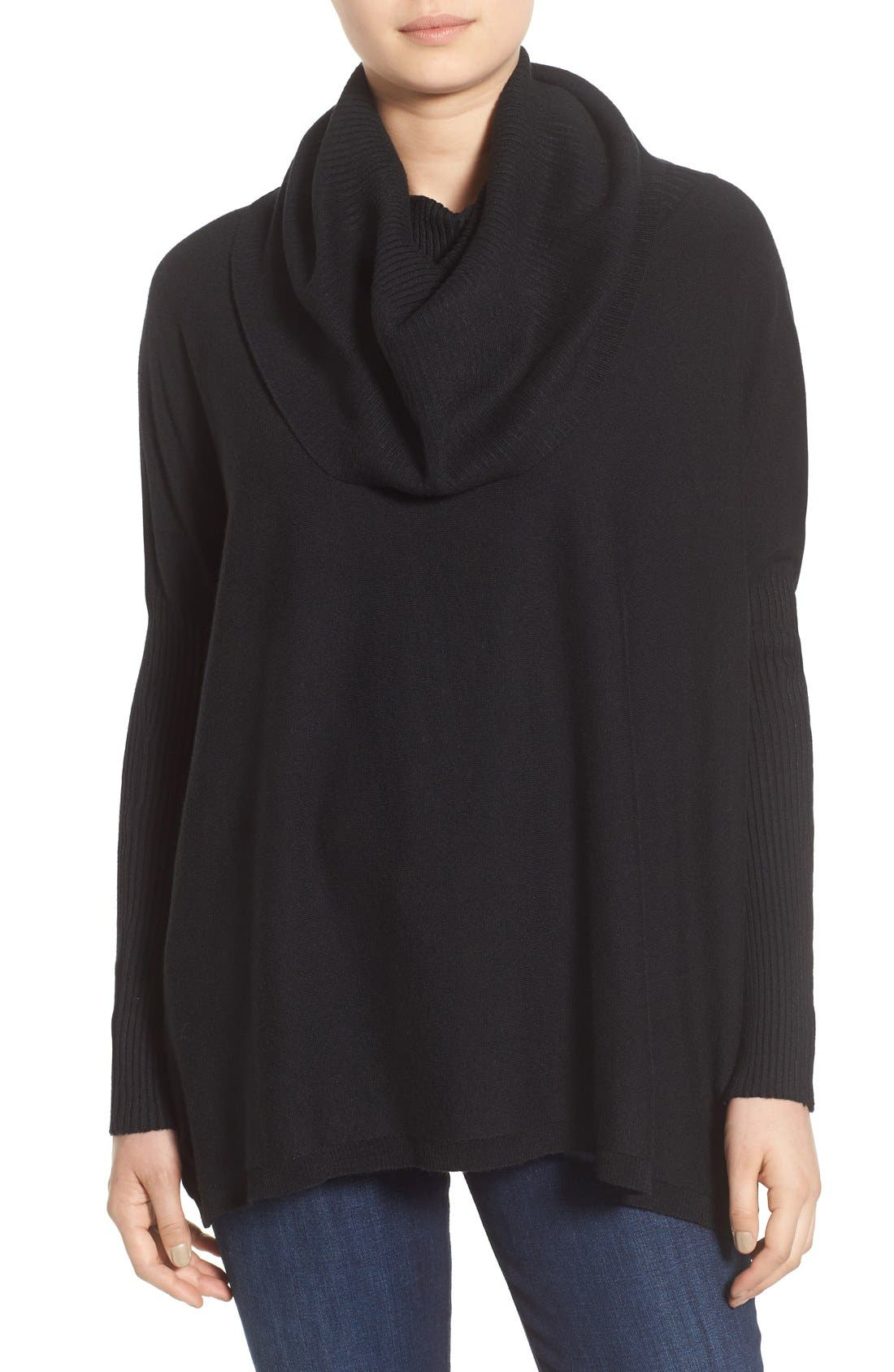 DREAMERS BY DEBUT, Cowl Neck Boxy Pullover, Main thumbnail 1, color, 001