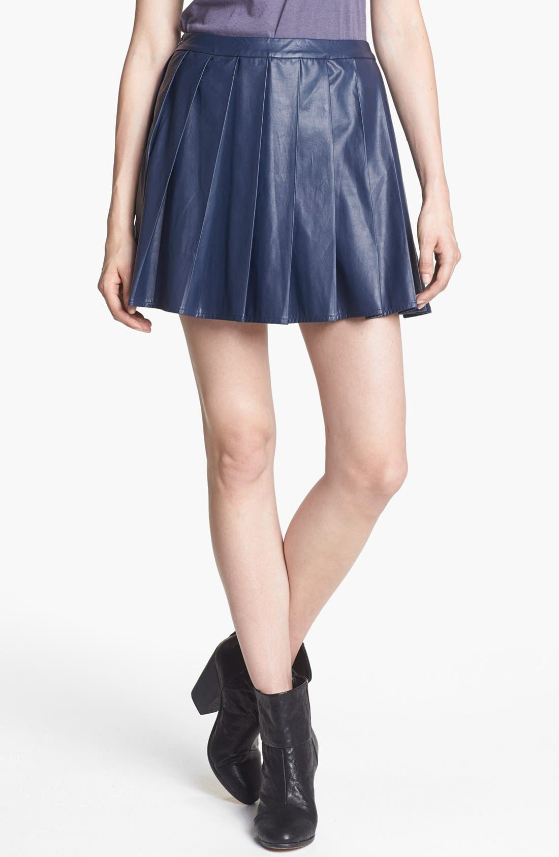 ASTR THE LABEL, ASTR Pleated Faux Leather Skirt, Main thumbnail 1, color, 422