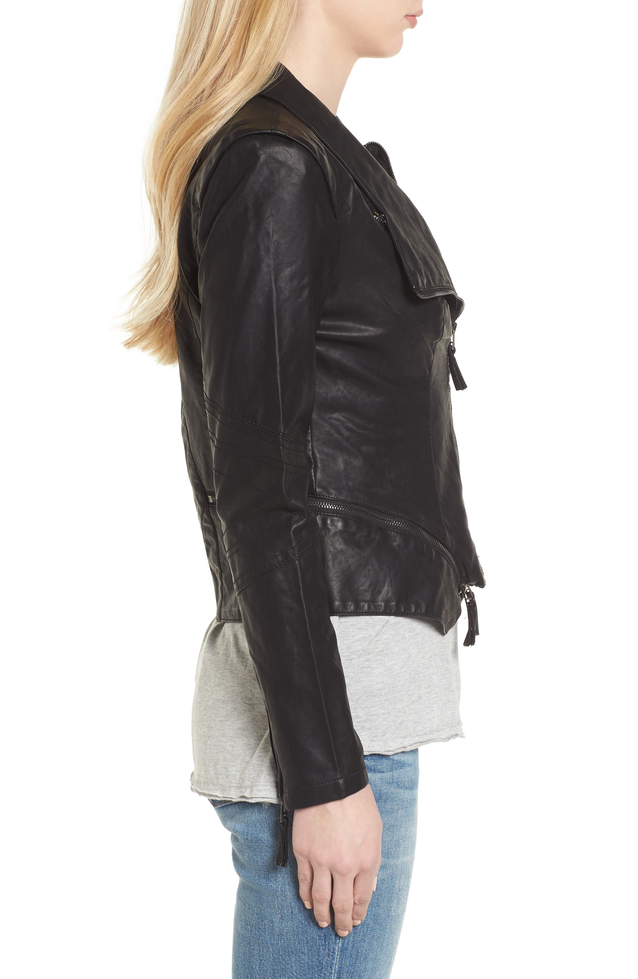 BLANKNYC, Faux Leather Jacket, Alternate thumbnail 4, color, BLACK