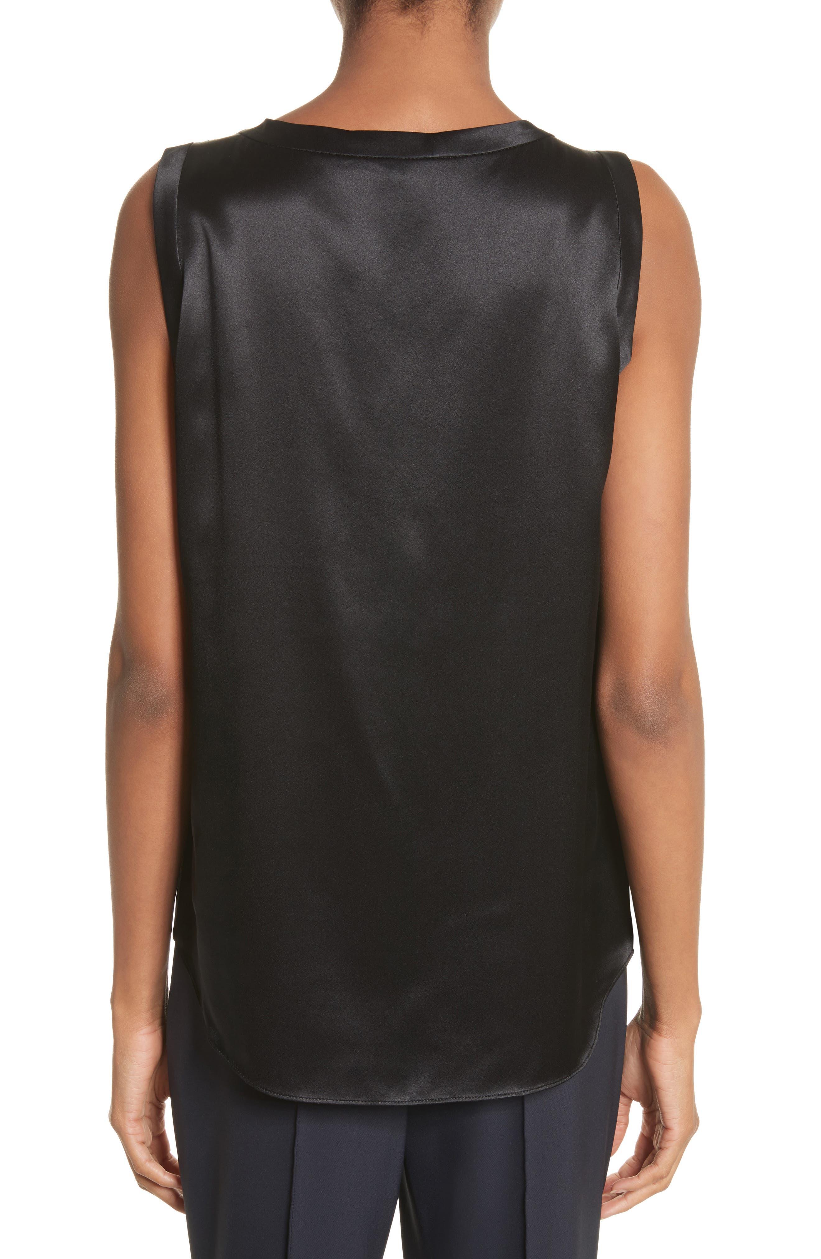 LAFAYETTE 148 NEW YORK, Perla Reversible Silk Blouse, Alternate thumbnail 2, color, BLACK