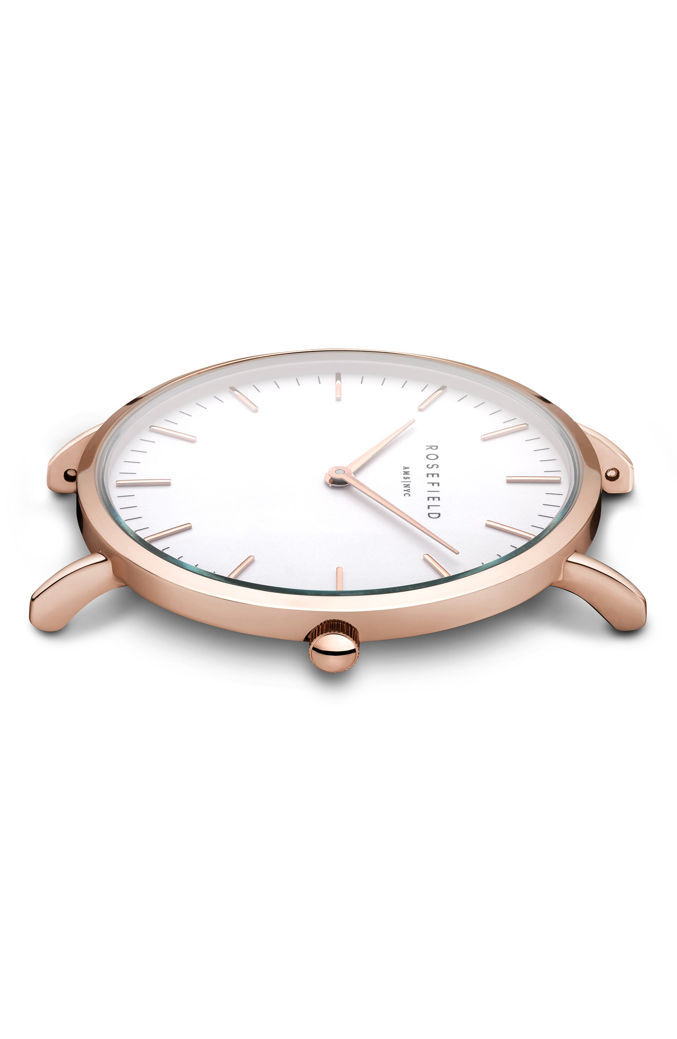ROSEFIELD, Bowery Leather Strap Watch, 38mm, Alternate thumbnail 3, color, GREY/ WHITE/ ROSE GOLD