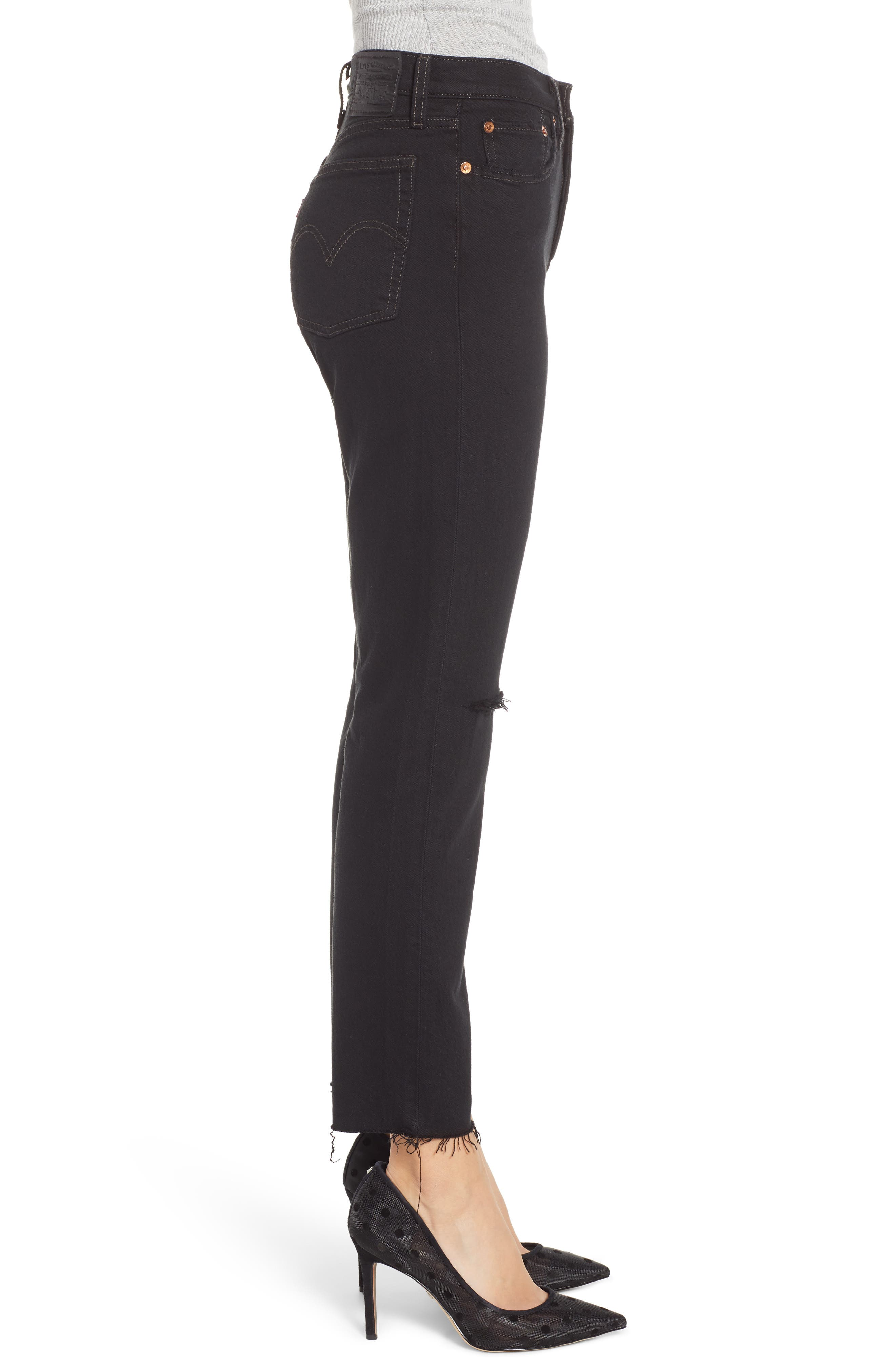 LEVI'S<SUP>®</SUP>, Wedgie Icon Fit High Waist Ripped Skinny Jeans, Alternate thumbnail 4, color, BLACK DESERT