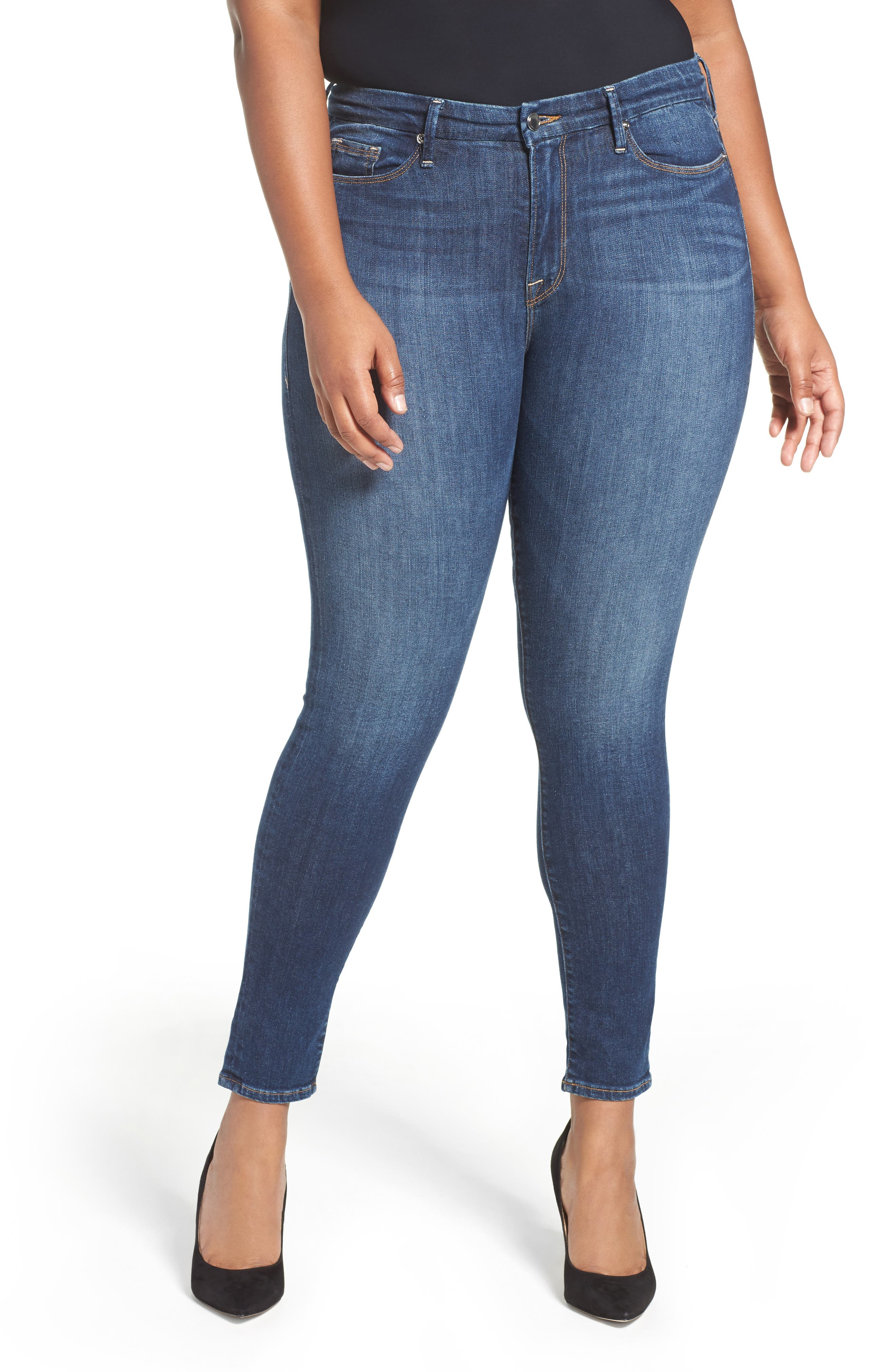 GOOD AMERICAN, Good Legs High Rise Skinny Jeans, Alternate thumbnail 2, color, BLUE 004
