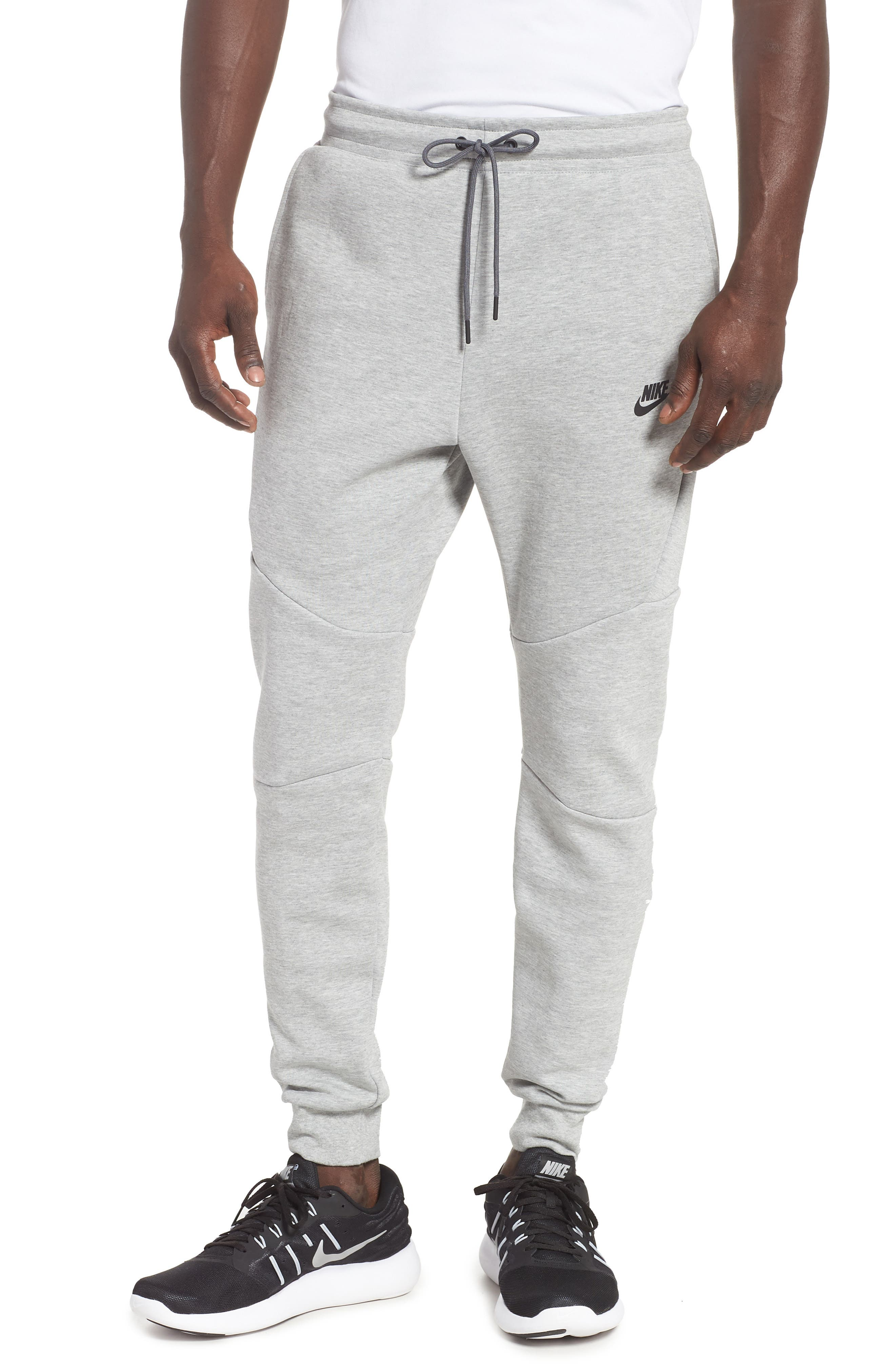 NIKE, Tech Fleece Jogger Pants, Main thumbnail 1, color, DARK GREY HEATHER/ BLACK