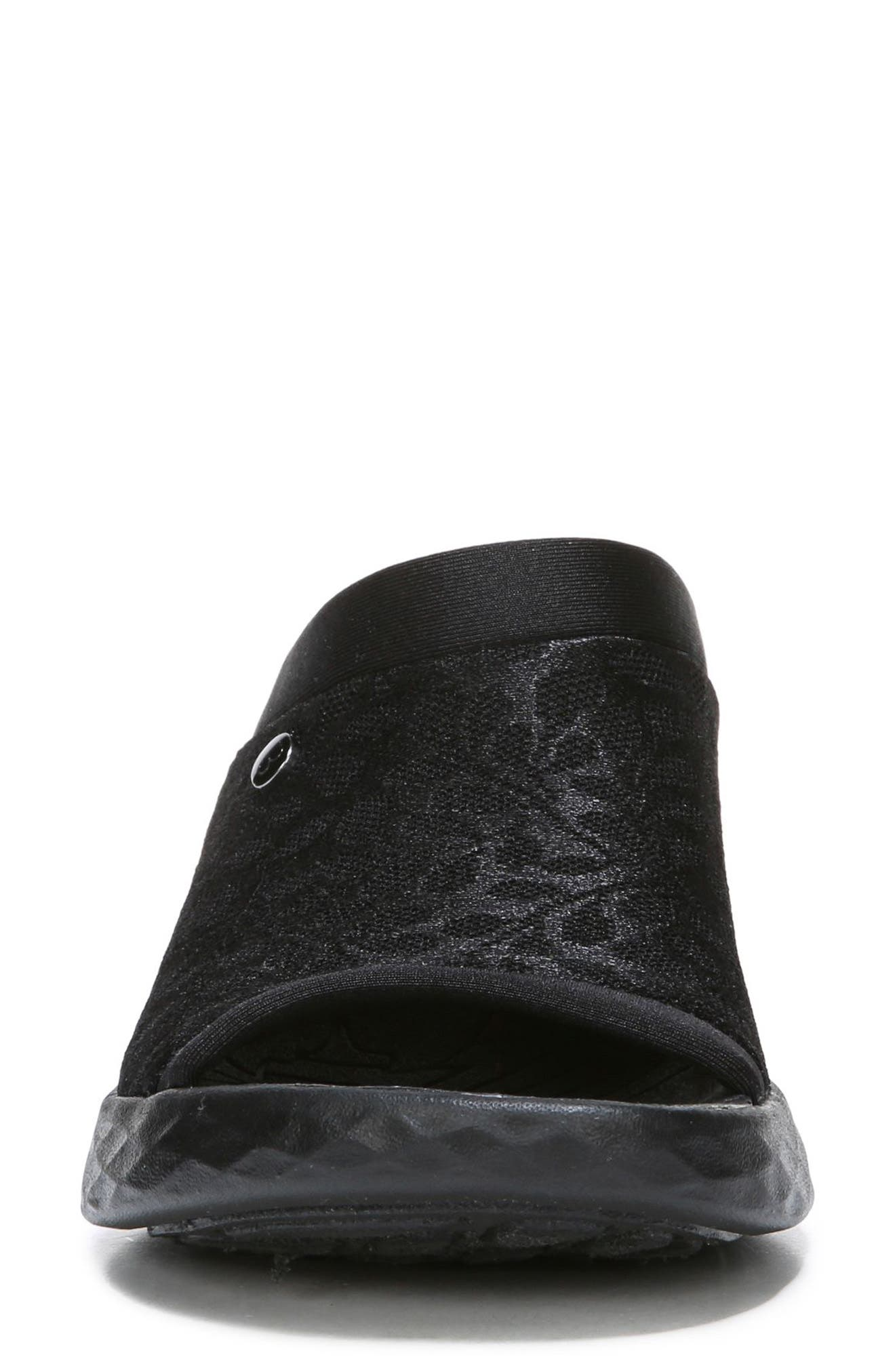 BZEES, Jubilee Sandal, Alternate thumbnail 4, color, BLACK GARDEN LACE FABRIC
