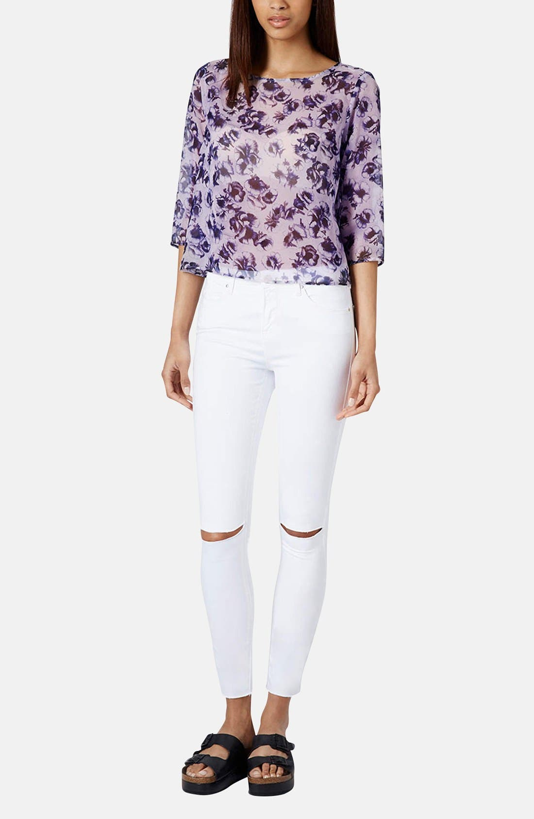 TOPSHOP, Moto 'Leigh' Distressed Skinny Jeans, Alternate thumbnail 5, color, 100